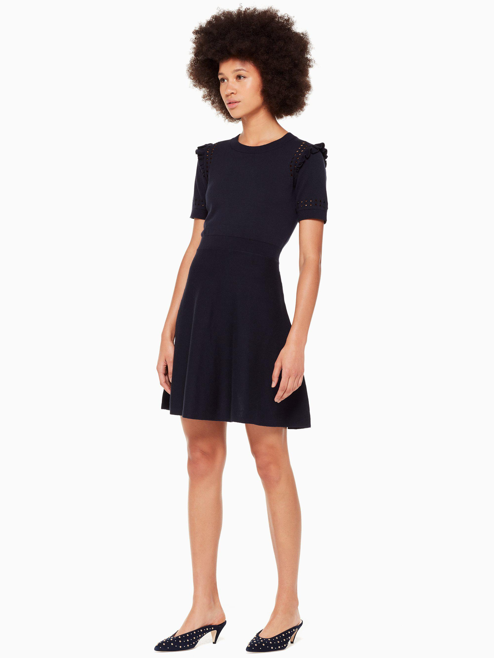 56c5d87160 Lyst - Kate Spade Ruffle Sweater Dress in Blue - Save 66%