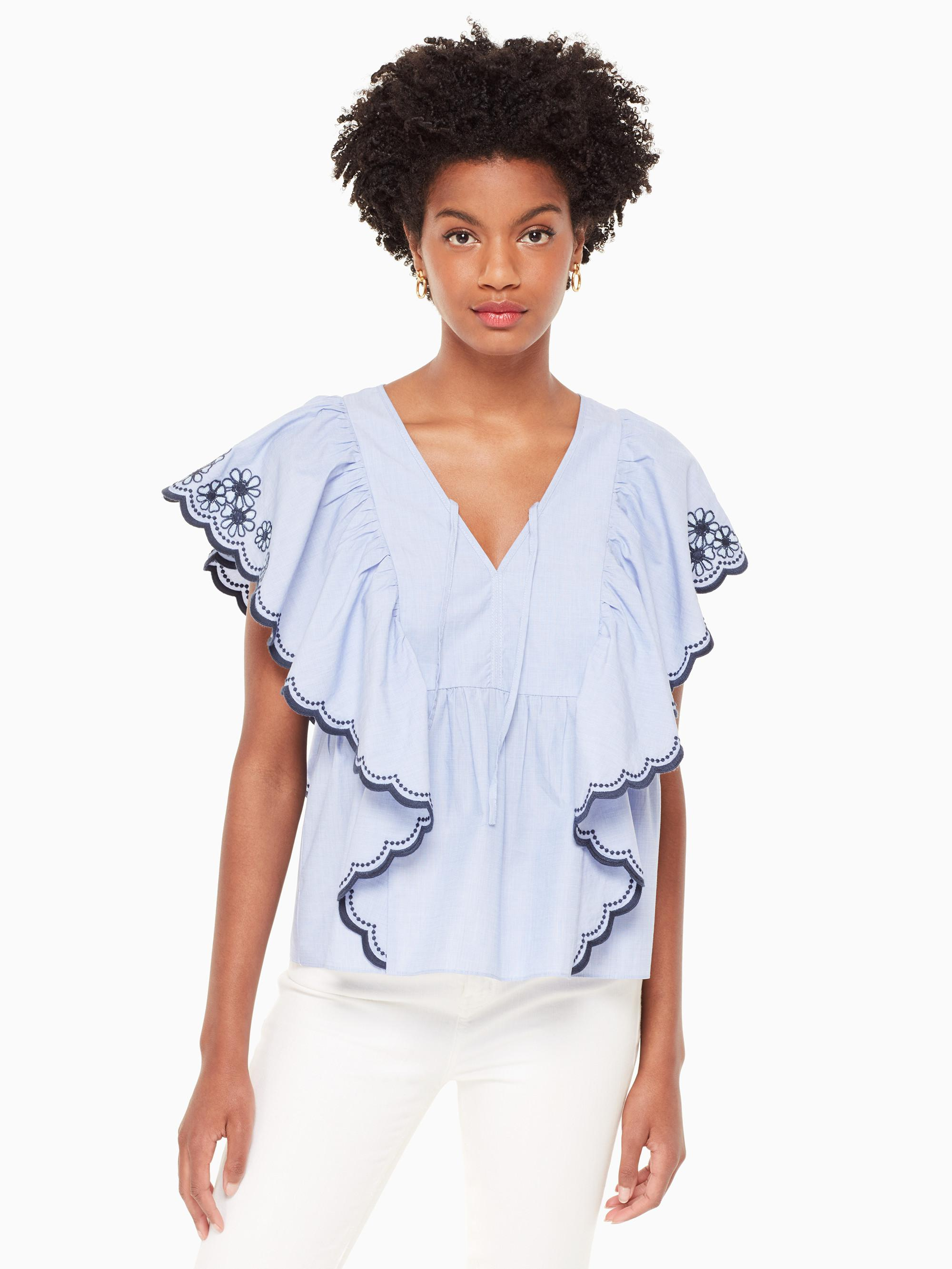 3e761e59b83 Kate Spade Daisy Embroidered Top in Blue - Lyst