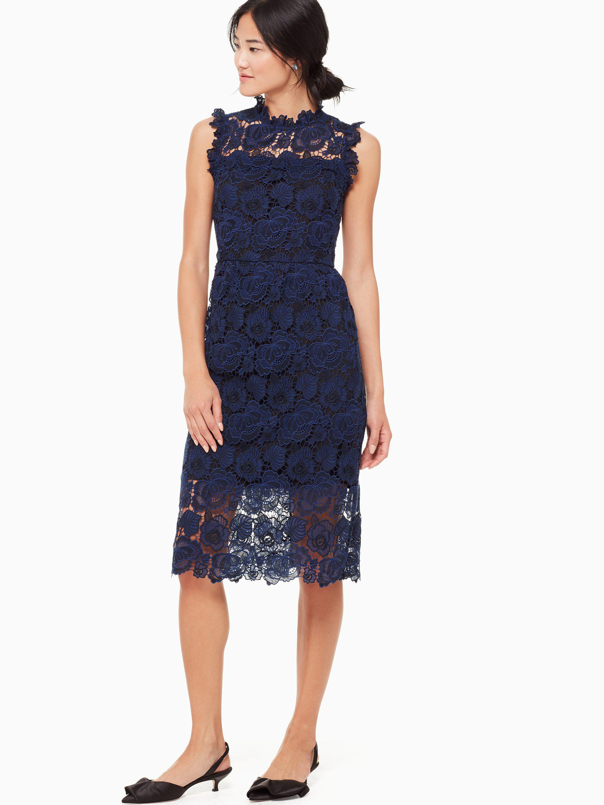 3915975c3c Lyst - Kate Spade Bi-color Floral Lace Dress in Blue - Save ...
