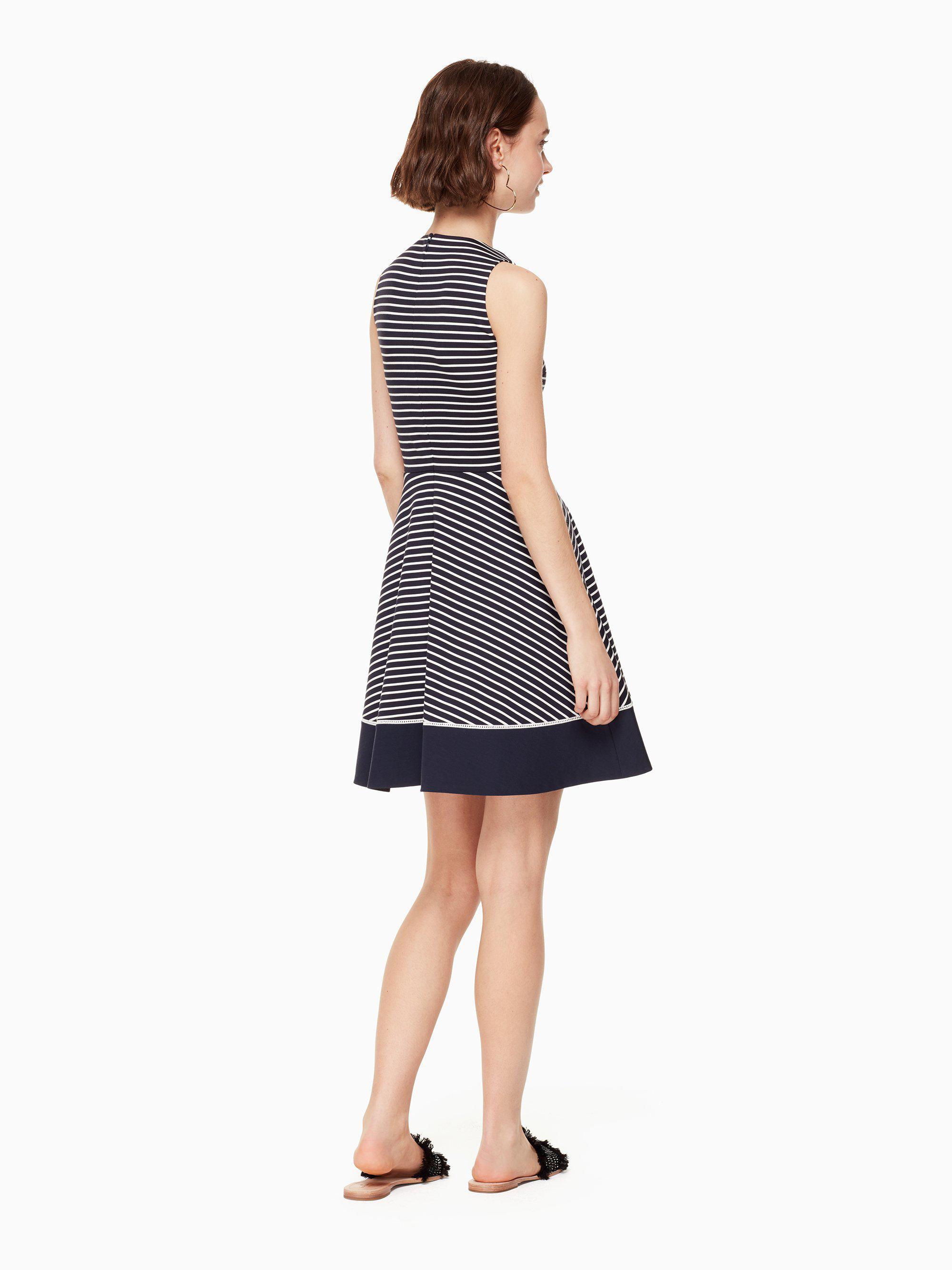e62aaa03dee4 Lyst - Kate Spade Stripe Ponte Dress in Blue