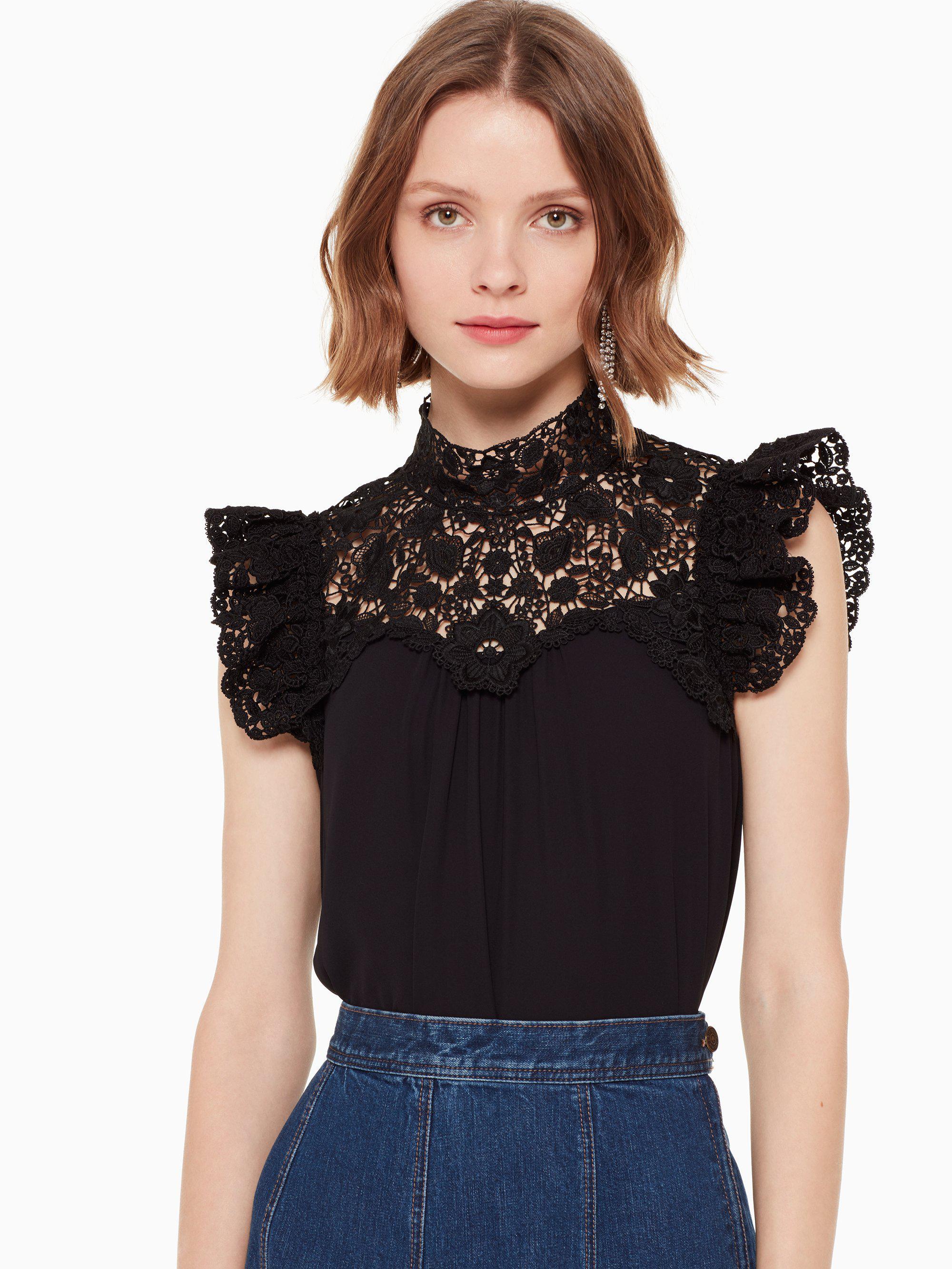 060e25991a4 Lyst - Kate Spade Lace Yoke Sleeveless Top in Black - Save 47%