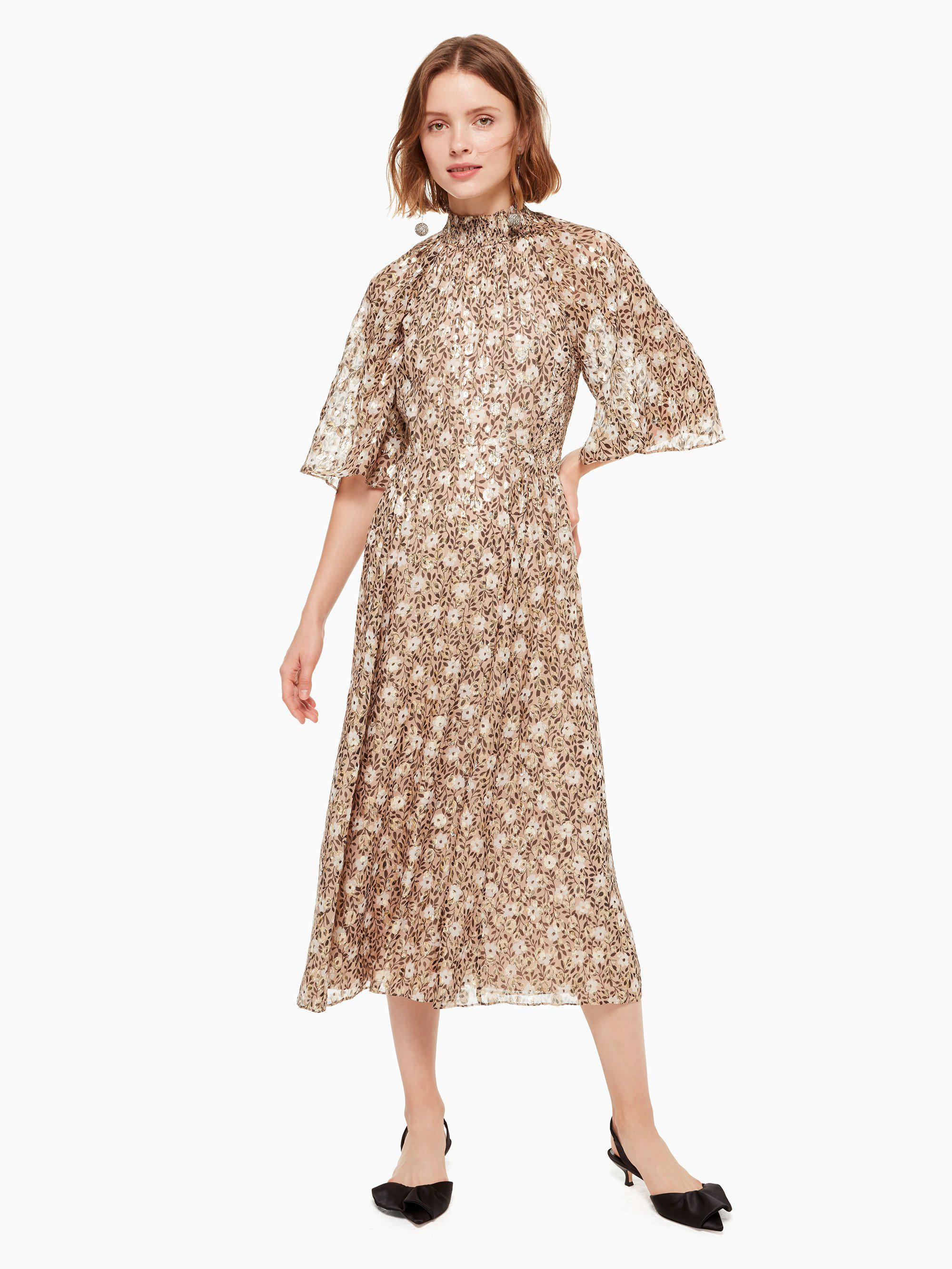 aabdf62d8a7d1 Lyst - Kate Spade Floral Park Clip Dot Midi Dress in Natural - Save 25%