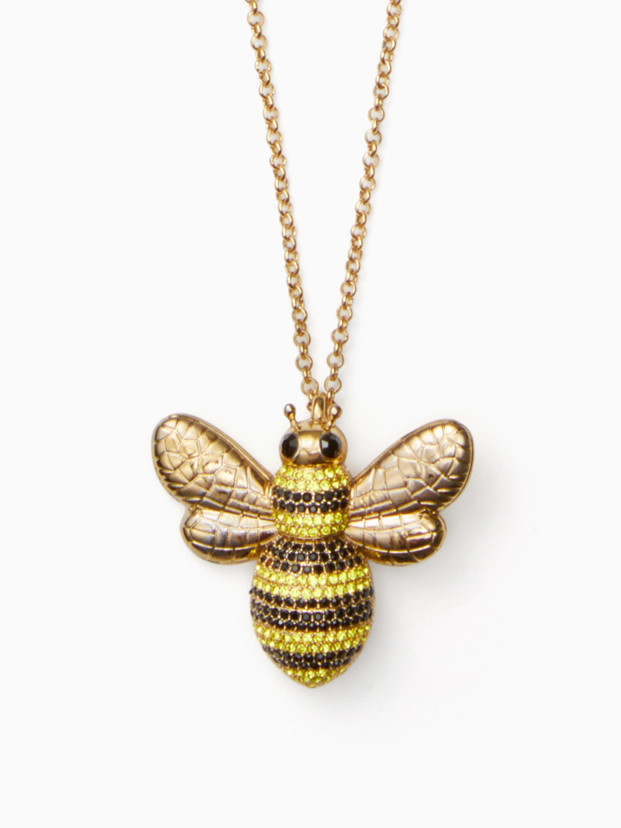 honeycomb necklace tworow lucky gallery brand pendant and honey lyst normal tone two jewelry product twotone bee beige row