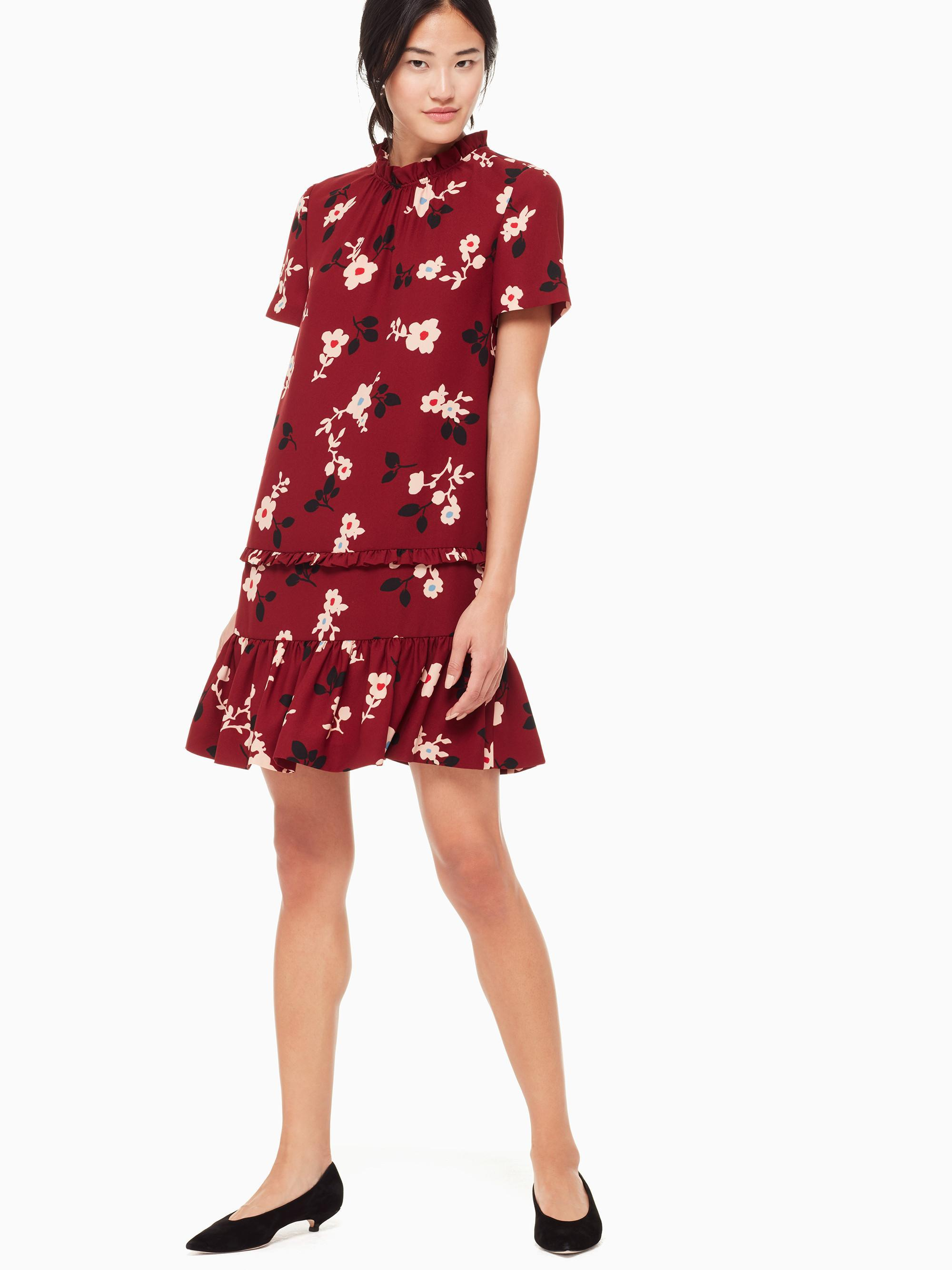 70948d73c1 Lyst - Kate Spade Camelia Ruffle Shift Dress in Red