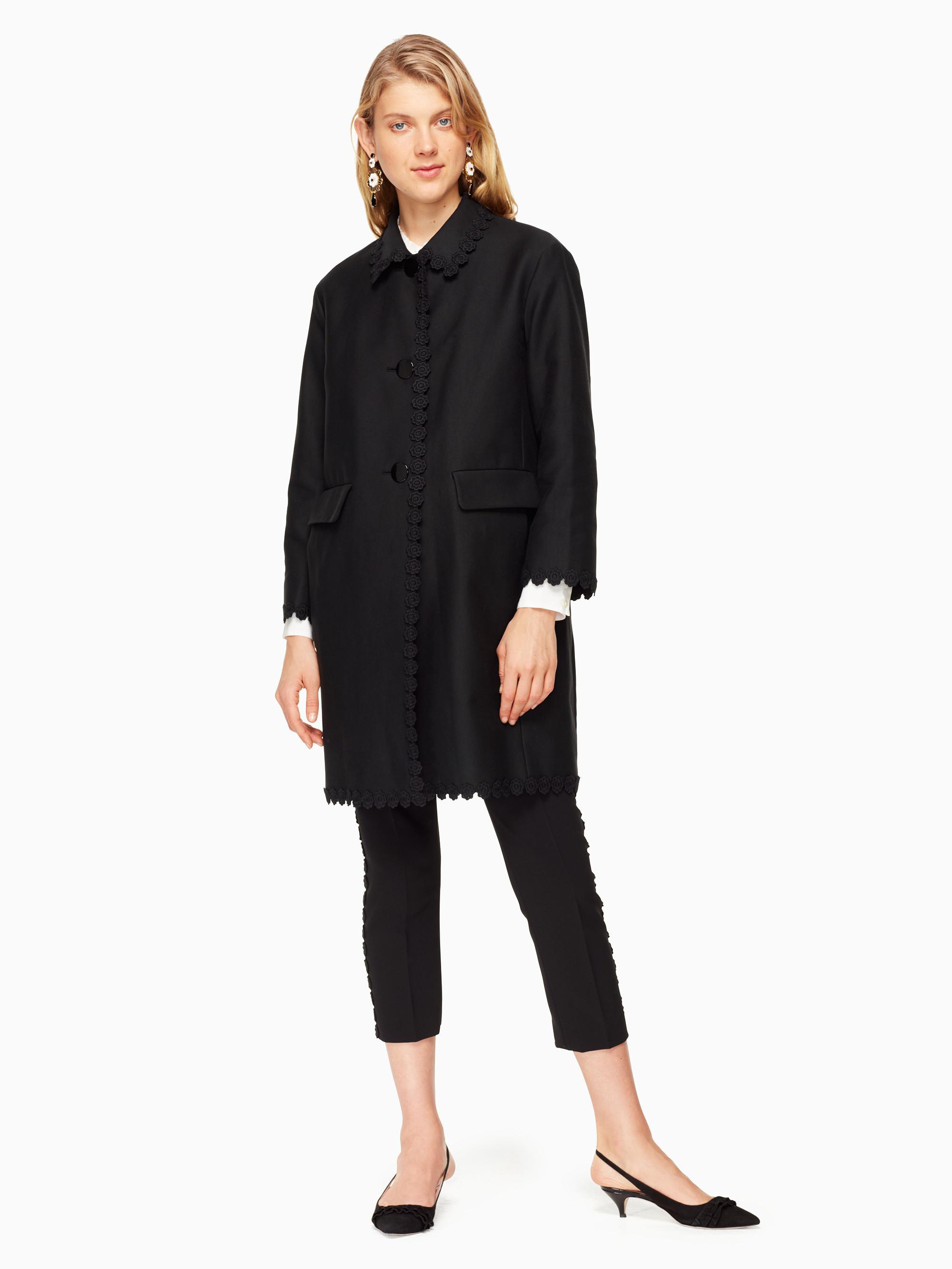 Kate Spade Floral Lace Trim Coat In Black Lyst