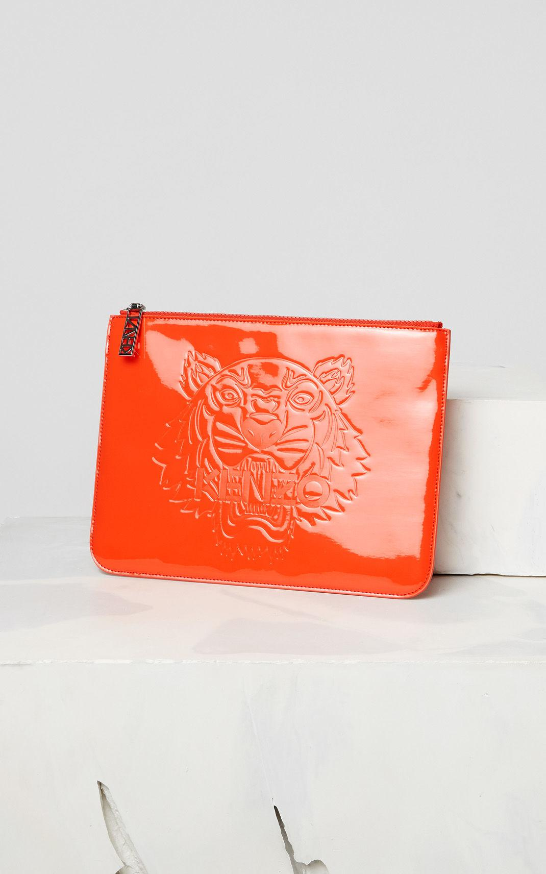 dbe80e71 KENZO A4 Tiger Patent Clutch Bag in Red - Lyst