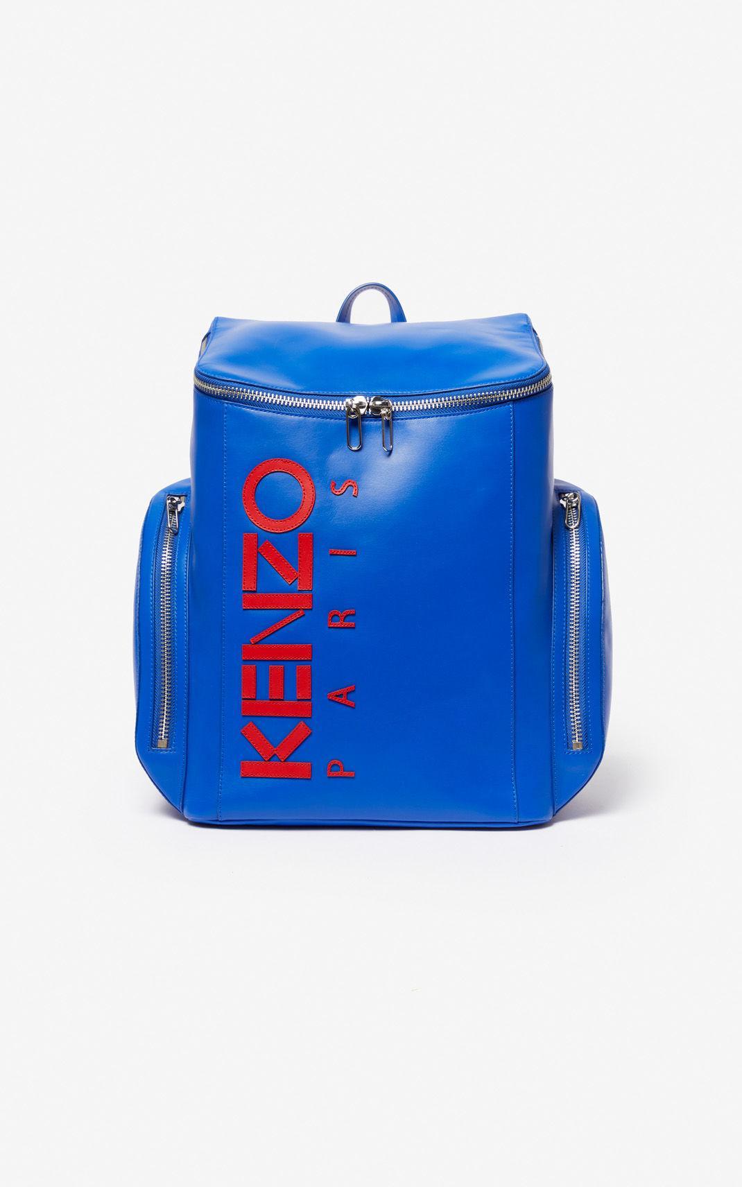 1bbdca7f Kenzo Leather Logo Backpack in Blue for Men - Lyst