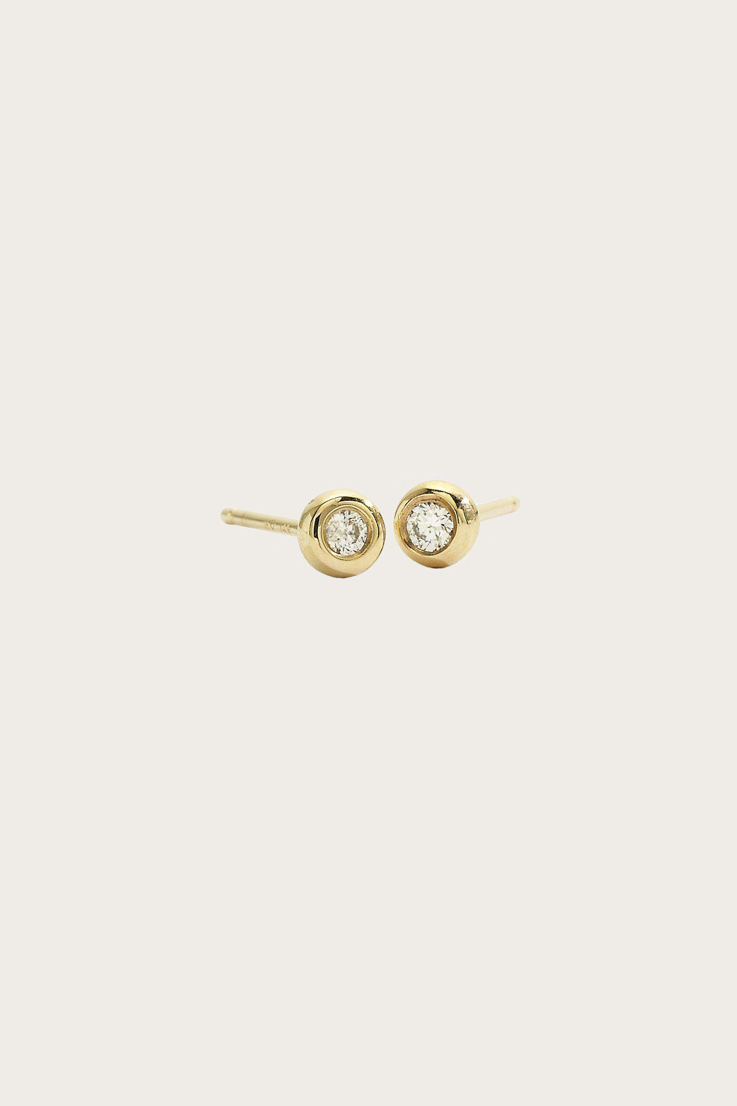 Lyst Blanca Monros Gomez Mini Diamond Studs in Metallic