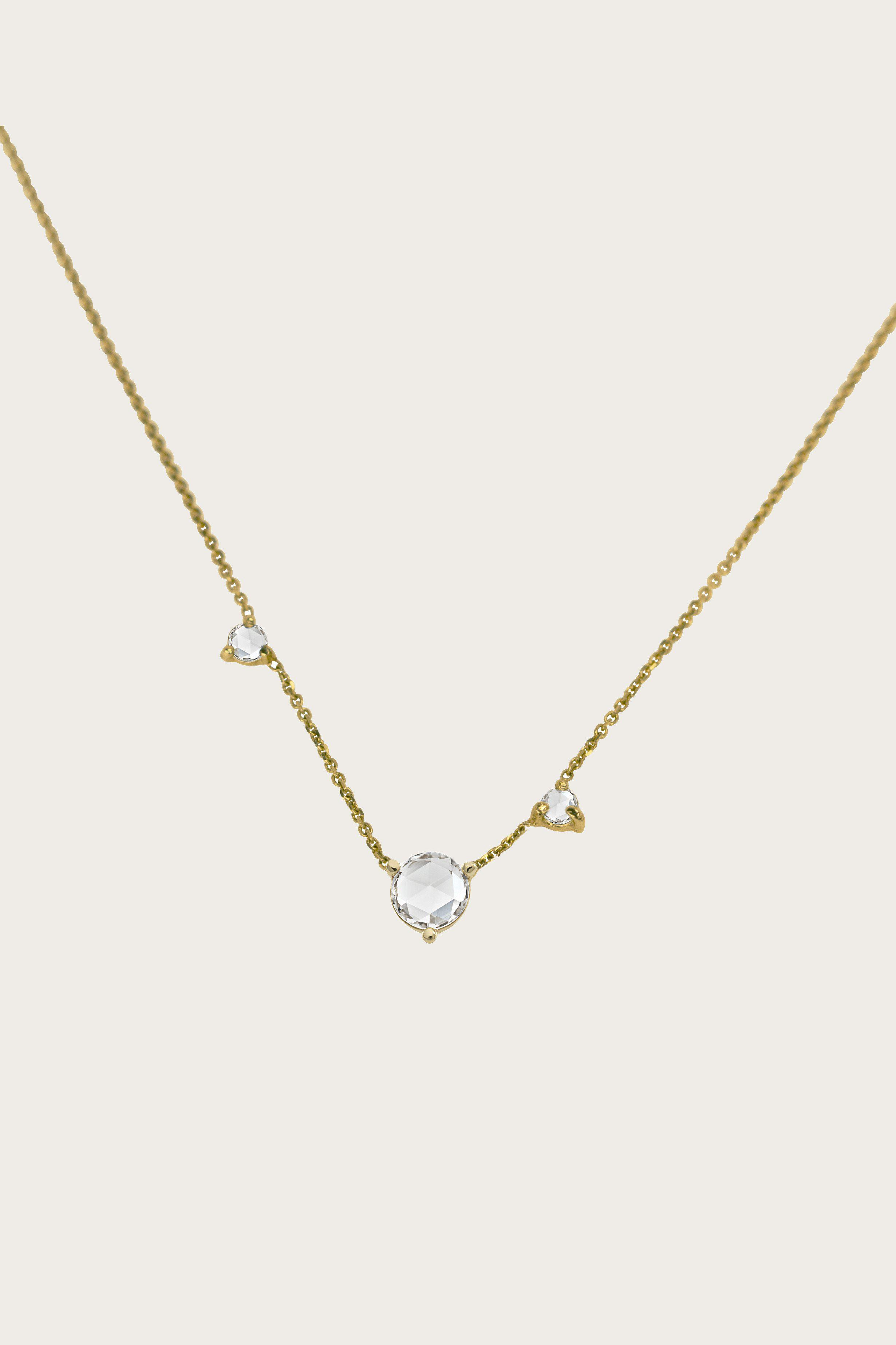 Three Step 14-karat Gold Multi-stone Necklace - one size Wwake a8hG4QZVg