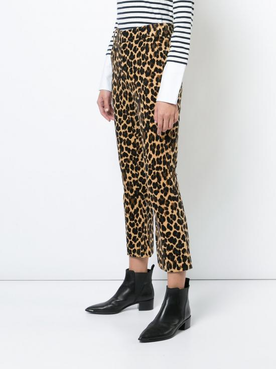 ae24d3ba62b5 FRAME Cropped Leopard-print Cotton-blend Velvet Flared Pants - Lyst