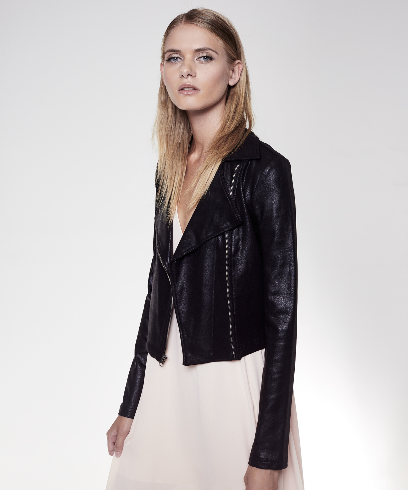 Krisa Shrunken Motorcycle Jacket in Black