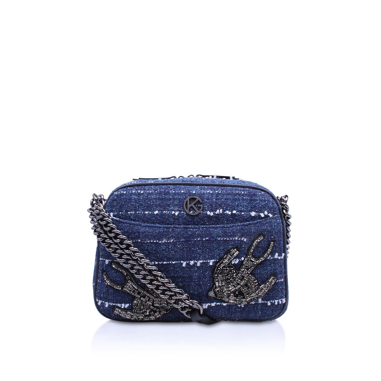 Kurt Geiger Denim Blue Tweed Cross Body Bag In Blue Lyst