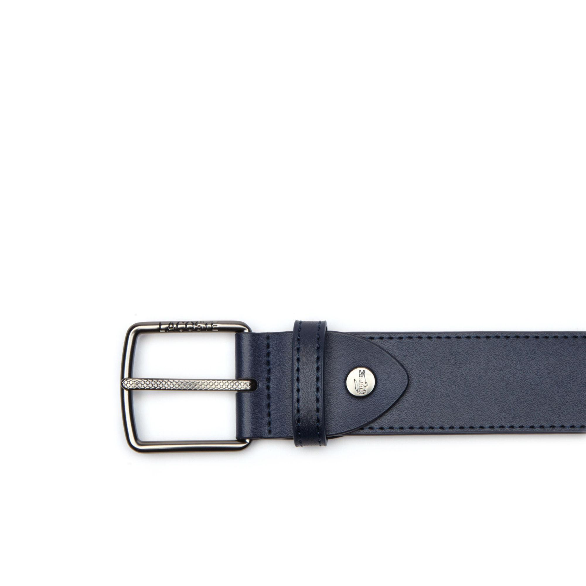 12b7372865 Lyst - Lacoste Engraved And Petit Piqué Tongue Buckle Leather Belt ...