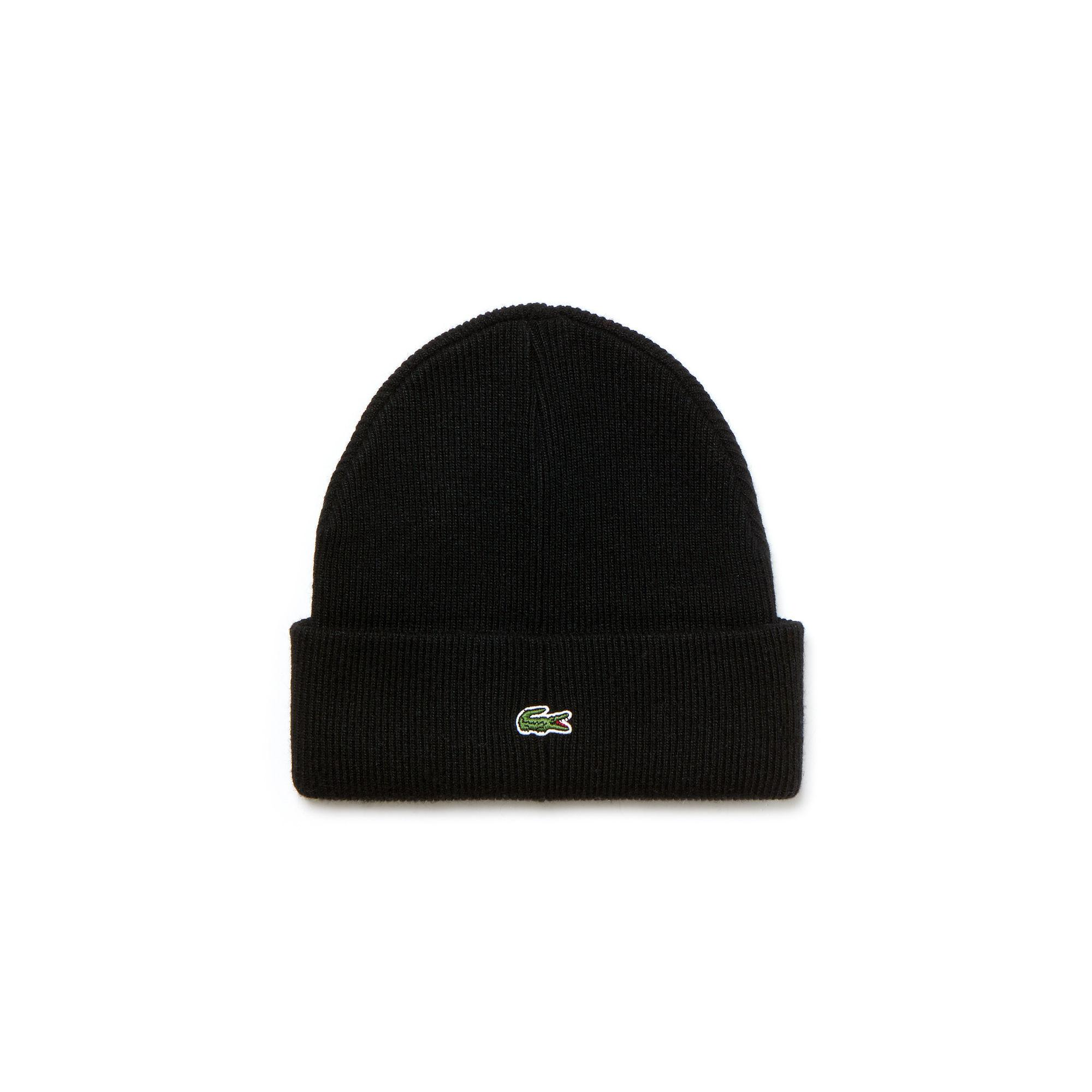 96cf0354b4507 Lyst - Lacoste Unisex Live Turned Edge Ribbed Wool Beanie in Black ...