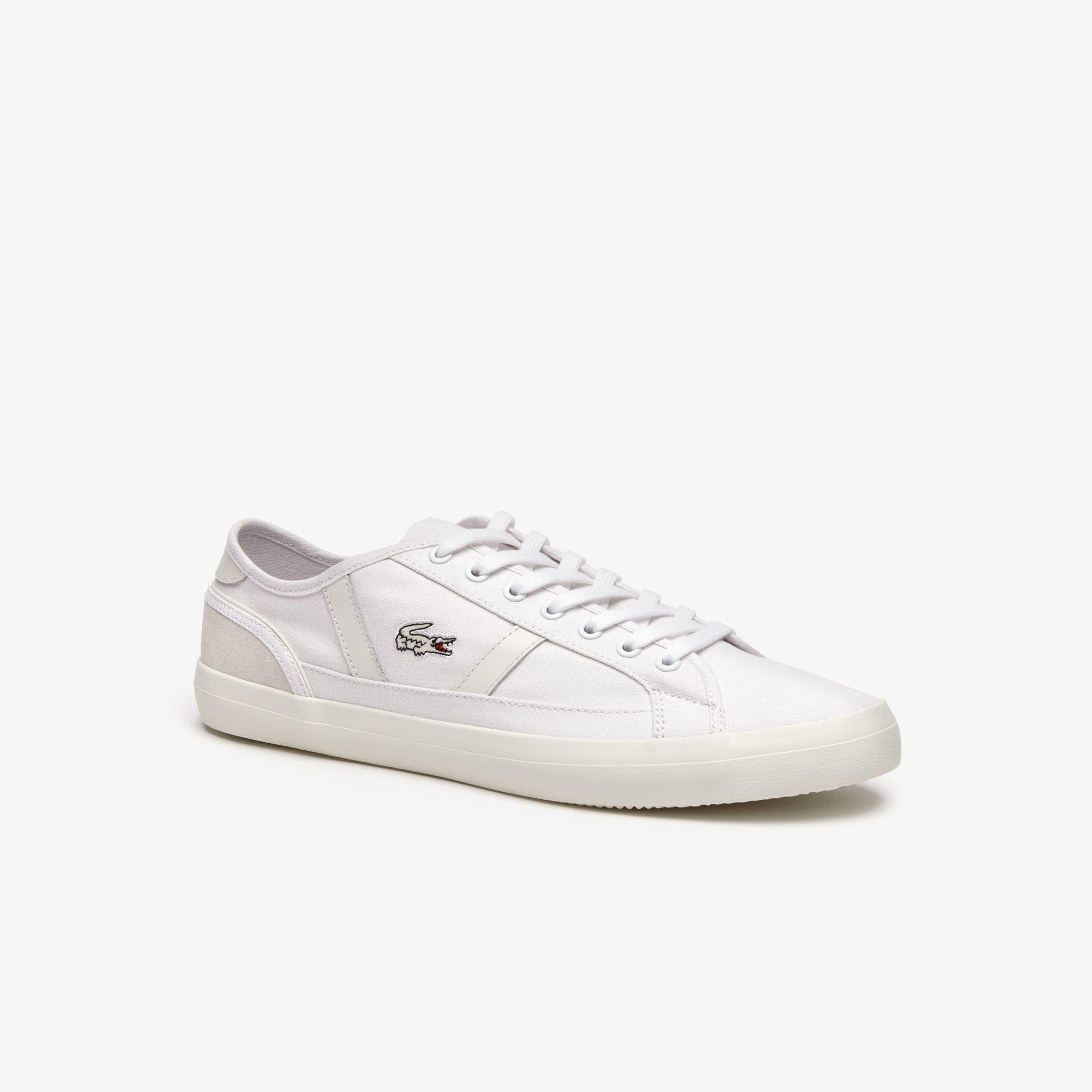96a4286ae Lyst - Lacoste Sideline Canvas And Leather Sneakers in White for Men