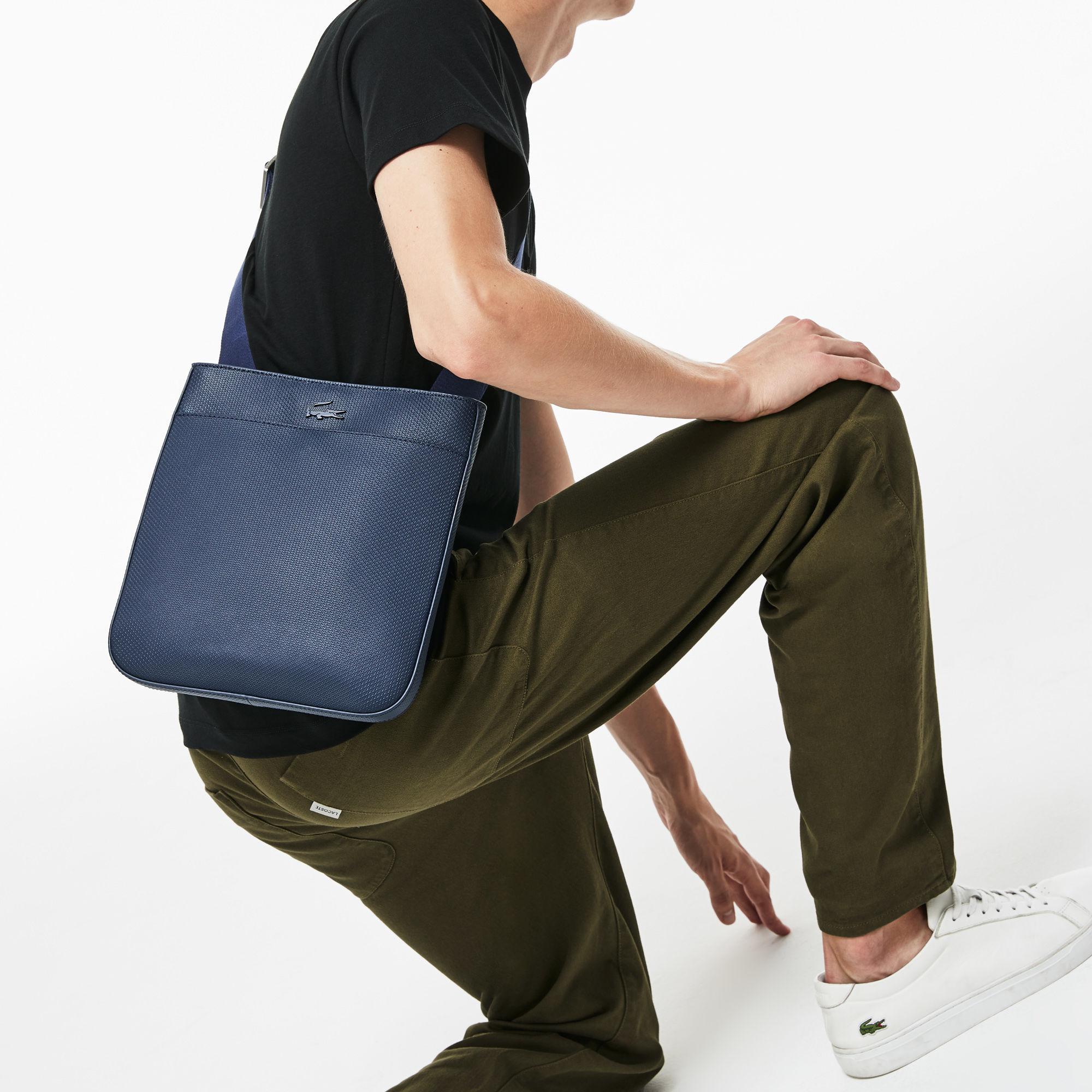 0e42ba682b6fb Lyst - Lacoste Chantaco Matte Piqué Leather Bag in Blue for Men