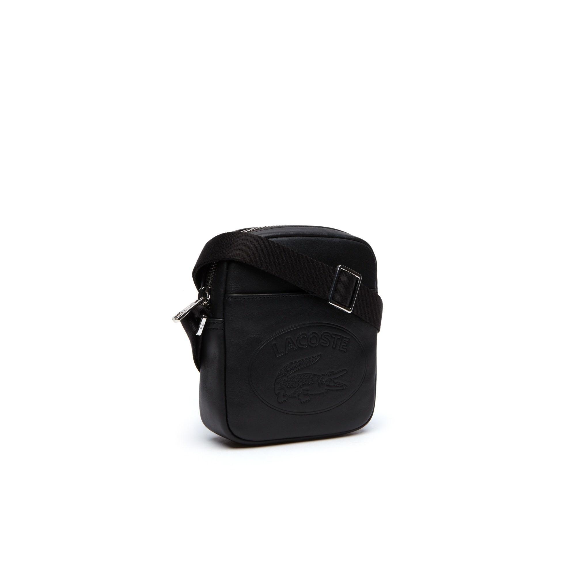 43c4e662af5 Lacoste L.12.12 Casual Embossed Lettering Vertical Leather Bag in Black for  Men - Lyst