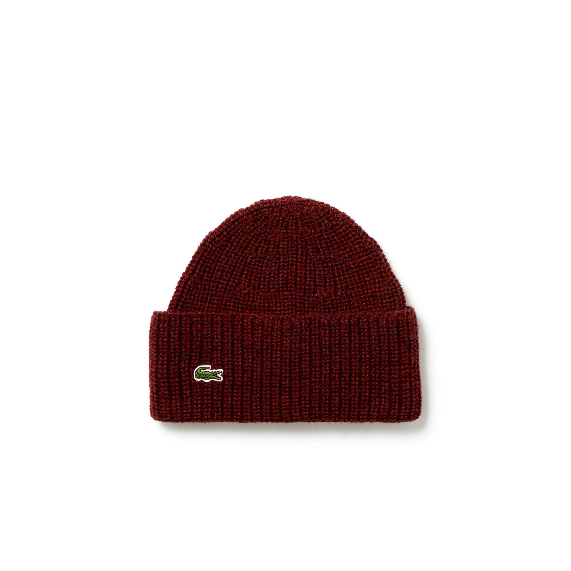 087fa1a5083 Lyst - Lacoste Turned Edge Ribbed Wool Beanie in Red for Men - Save 3%