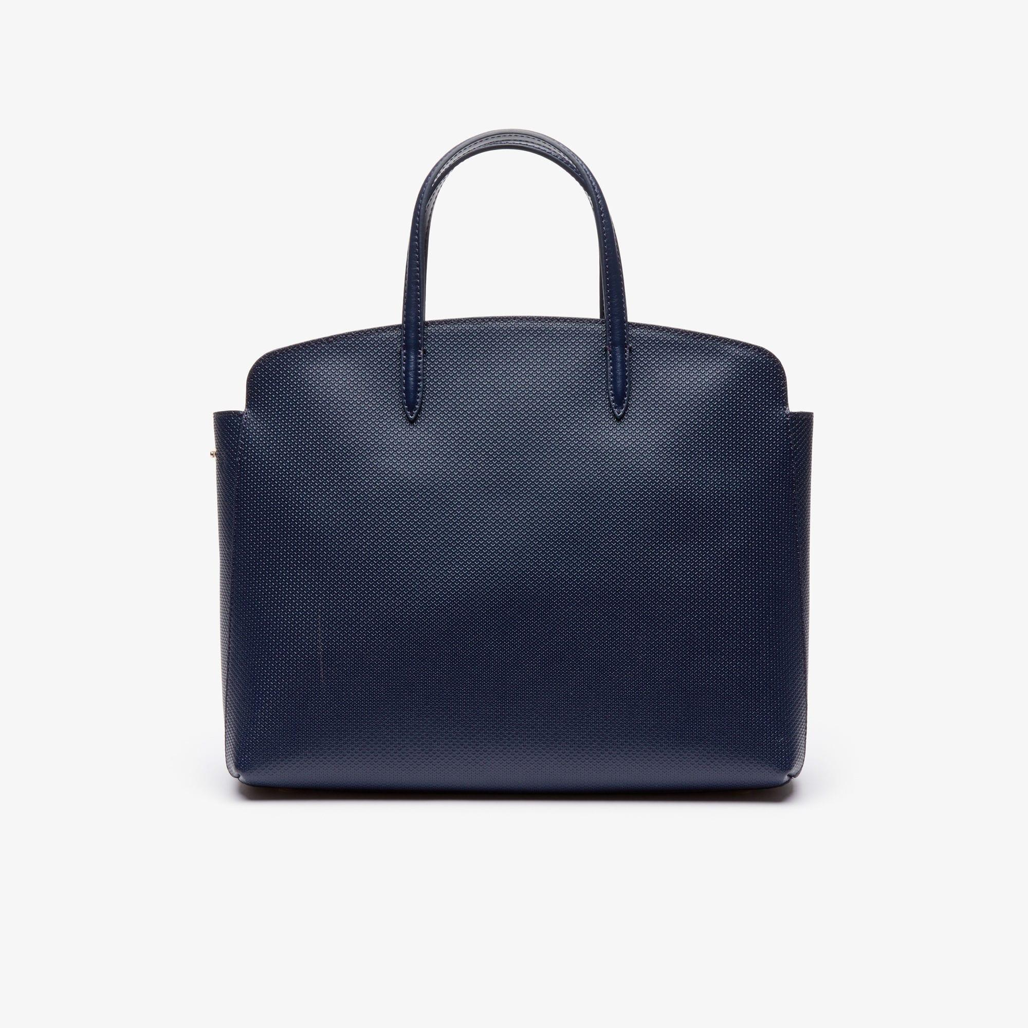 67f5e7538c Lacoste Chantaco Leather Zip Pocket Tote Bag in Blue - Lyst
