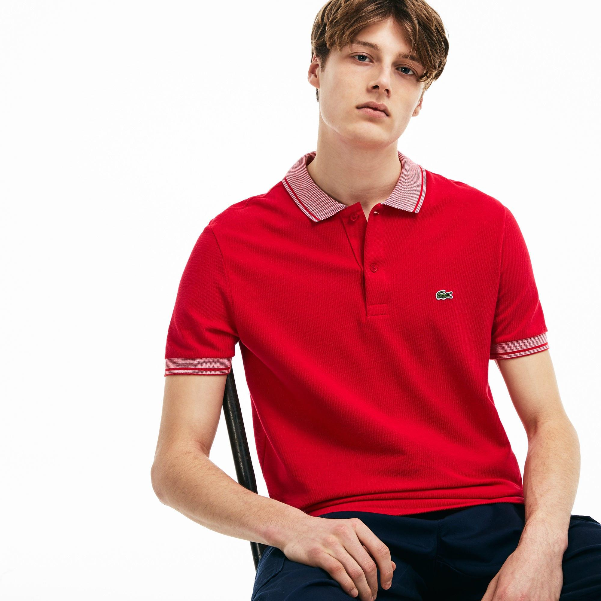 d254e53cc3 Lyst - Lacoste Regular Fit Piped Piqué Polo in Red for Men