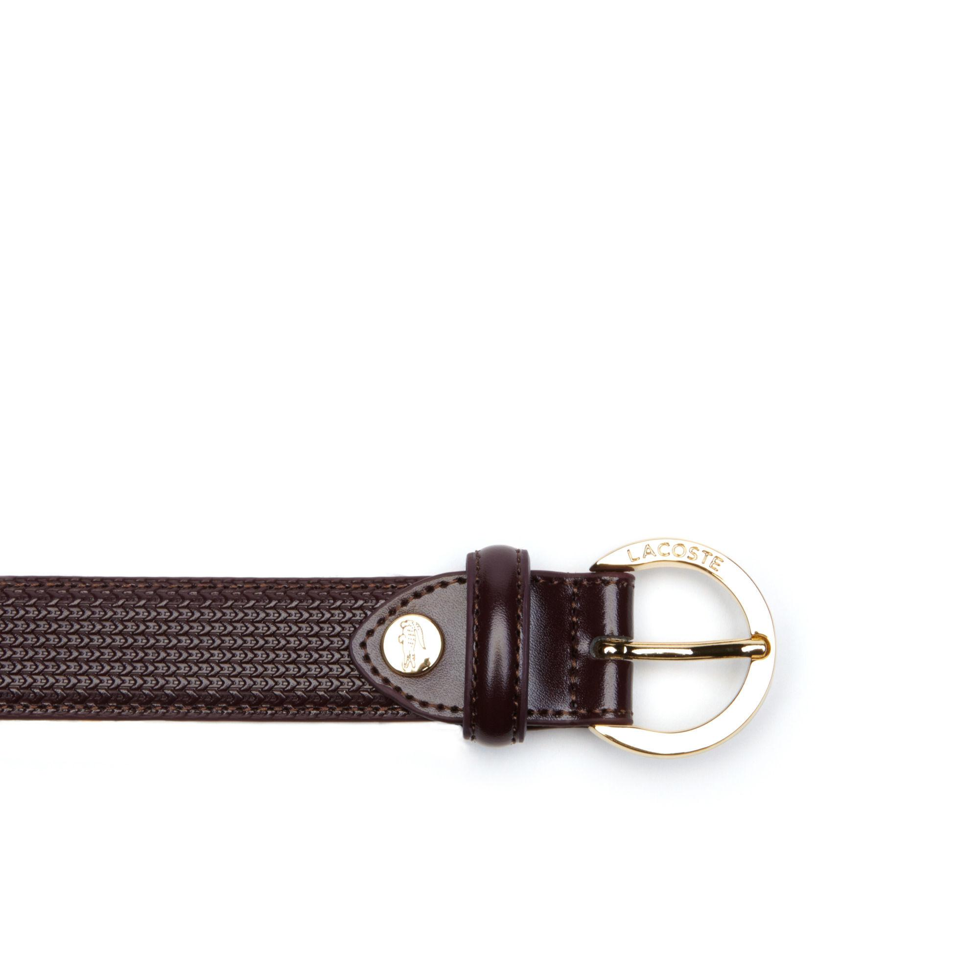 91eccf38c1741 Lacoste - Brown Chantaco Engraved Round Buckle Leather Belt - Lyst. View  fullscreen