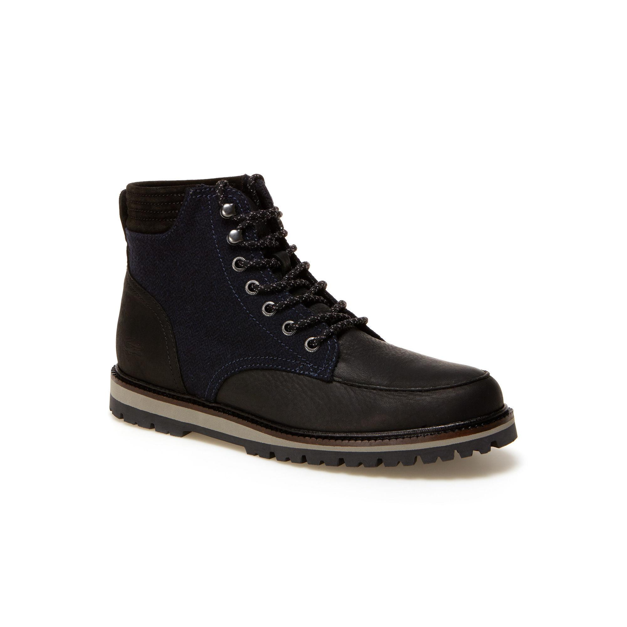 6ad3077cb3f448 Lyst - Lacoste Leather Montbard Boots in Black for Men