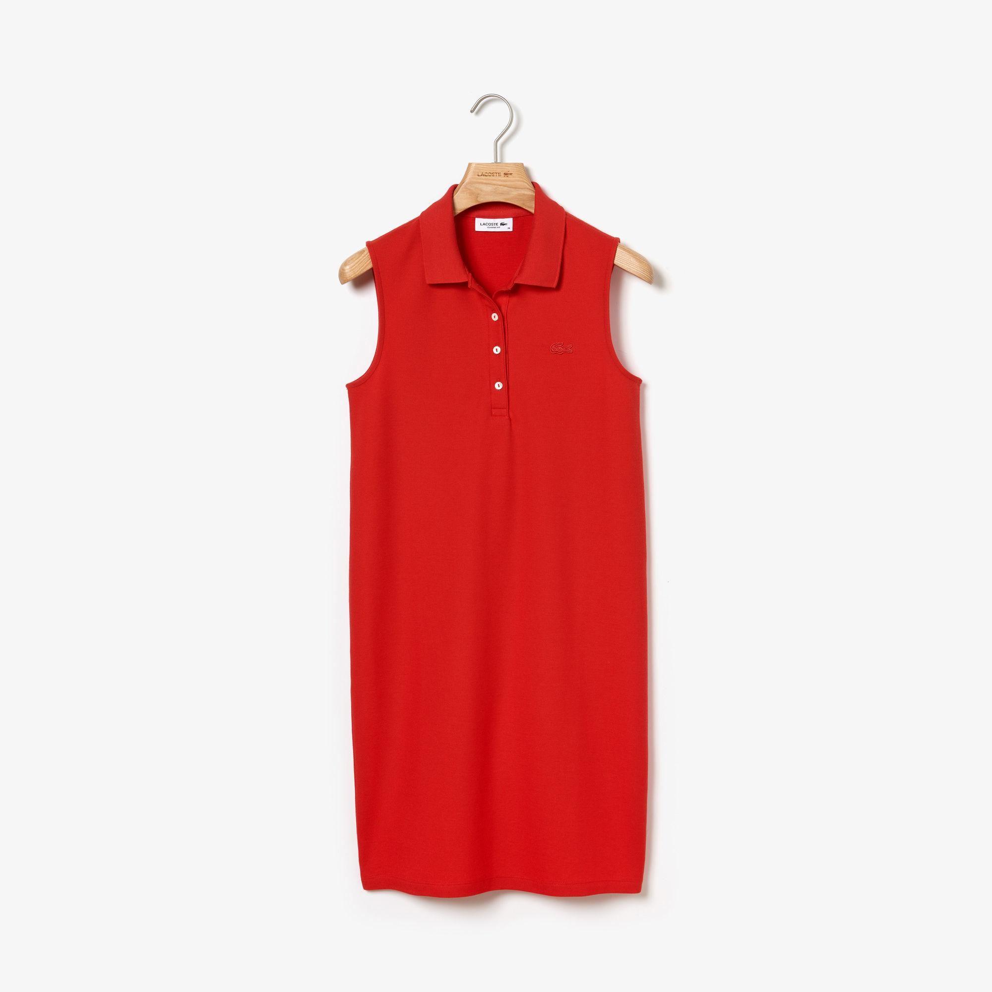 34b556b281f438 Lacoste - Red Micro Piqué Polo Dress - Lyst. View fullscreen