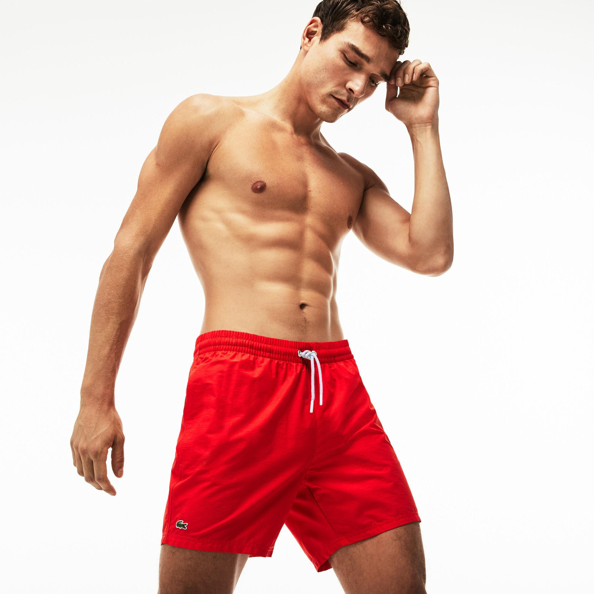 ebeec828ab Lyst - Lacoste Taffeta Swim Trunks in Red for Men