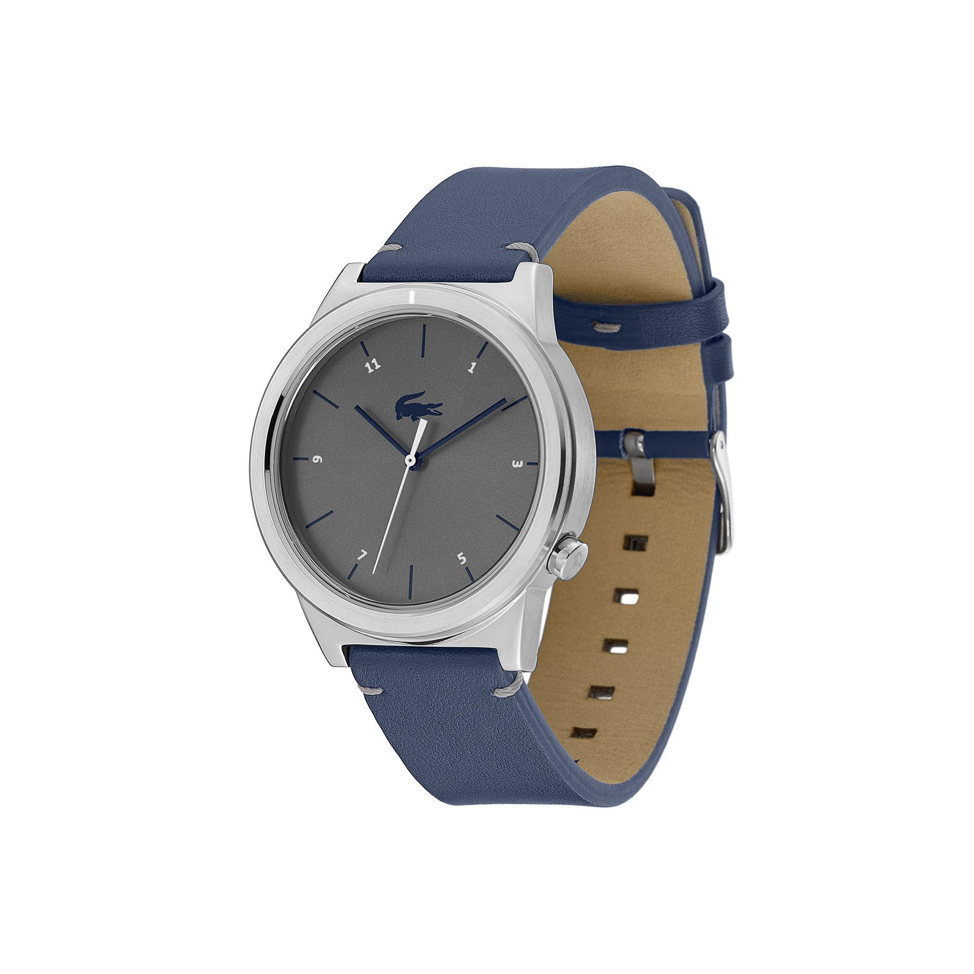 Lacoste - Motion Watch With Blue Leather Strap for Men - Lyst. View fullscreen