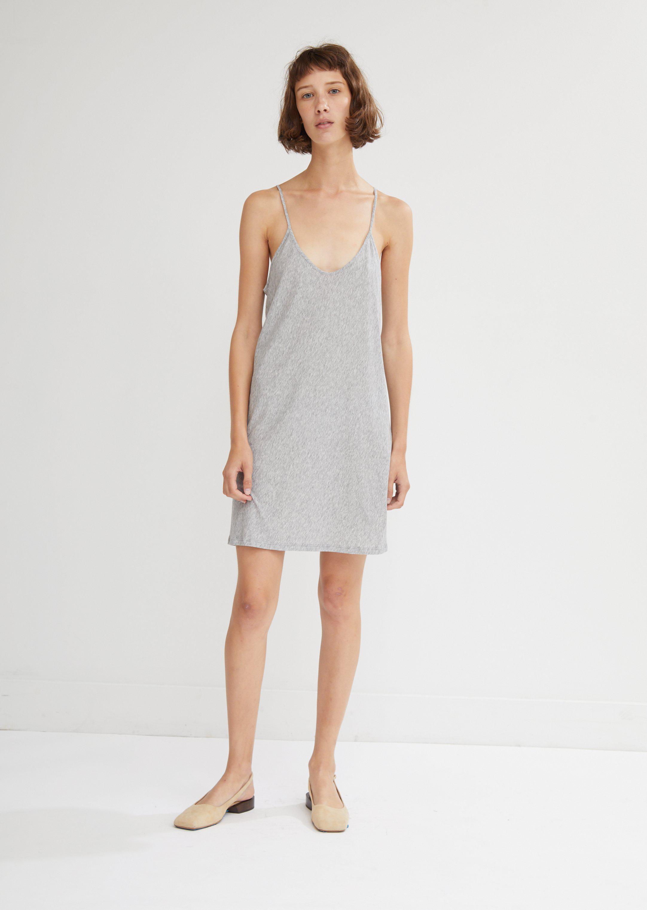 725a87b92bdd Skin Pima Cotton Slip Dress in Gray - Lyst