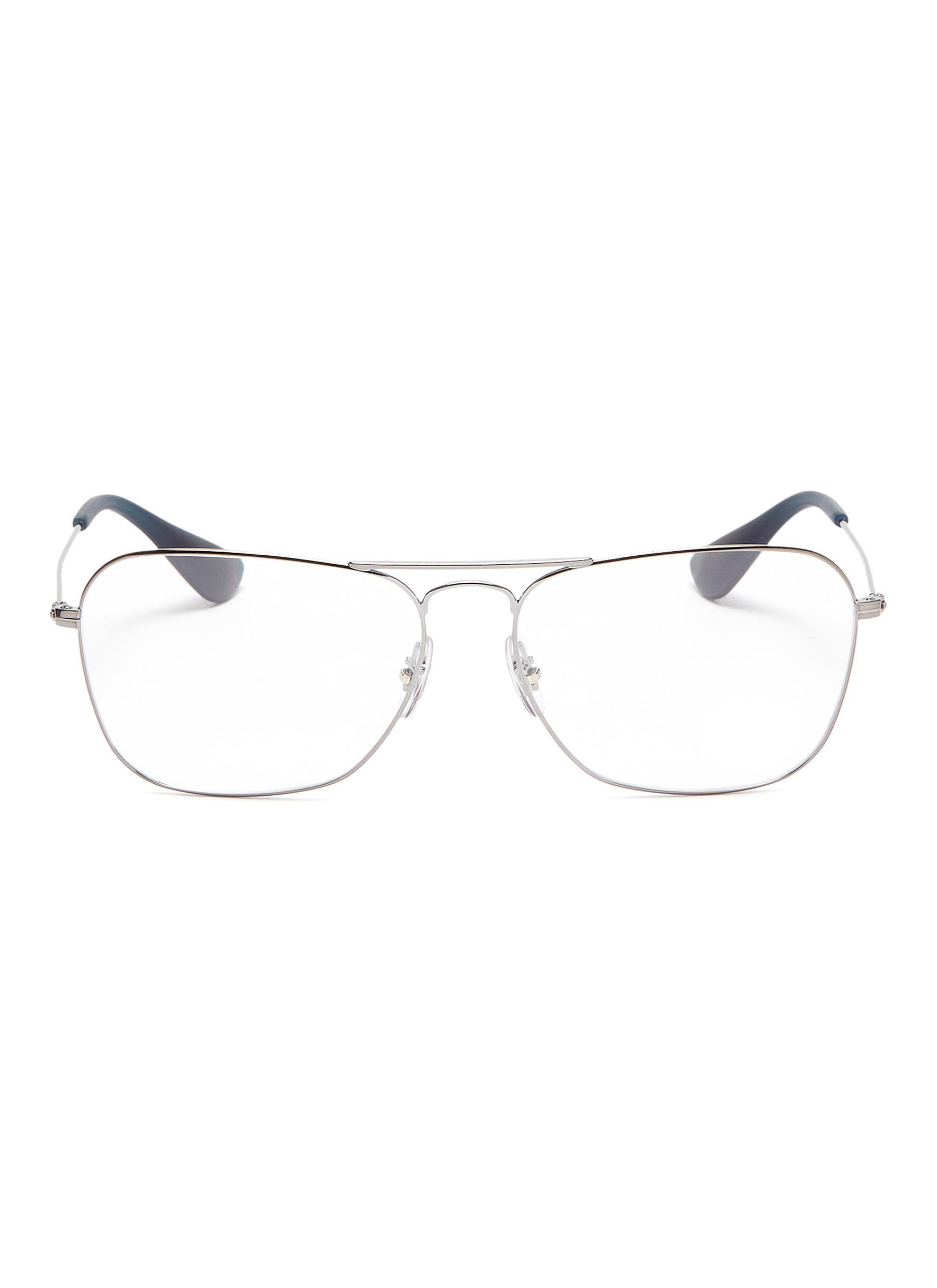 b5bb75982e0 Lyst - Ray-Ban  rx3610  Metal Square Aviator Optical Glasses in Gray ...