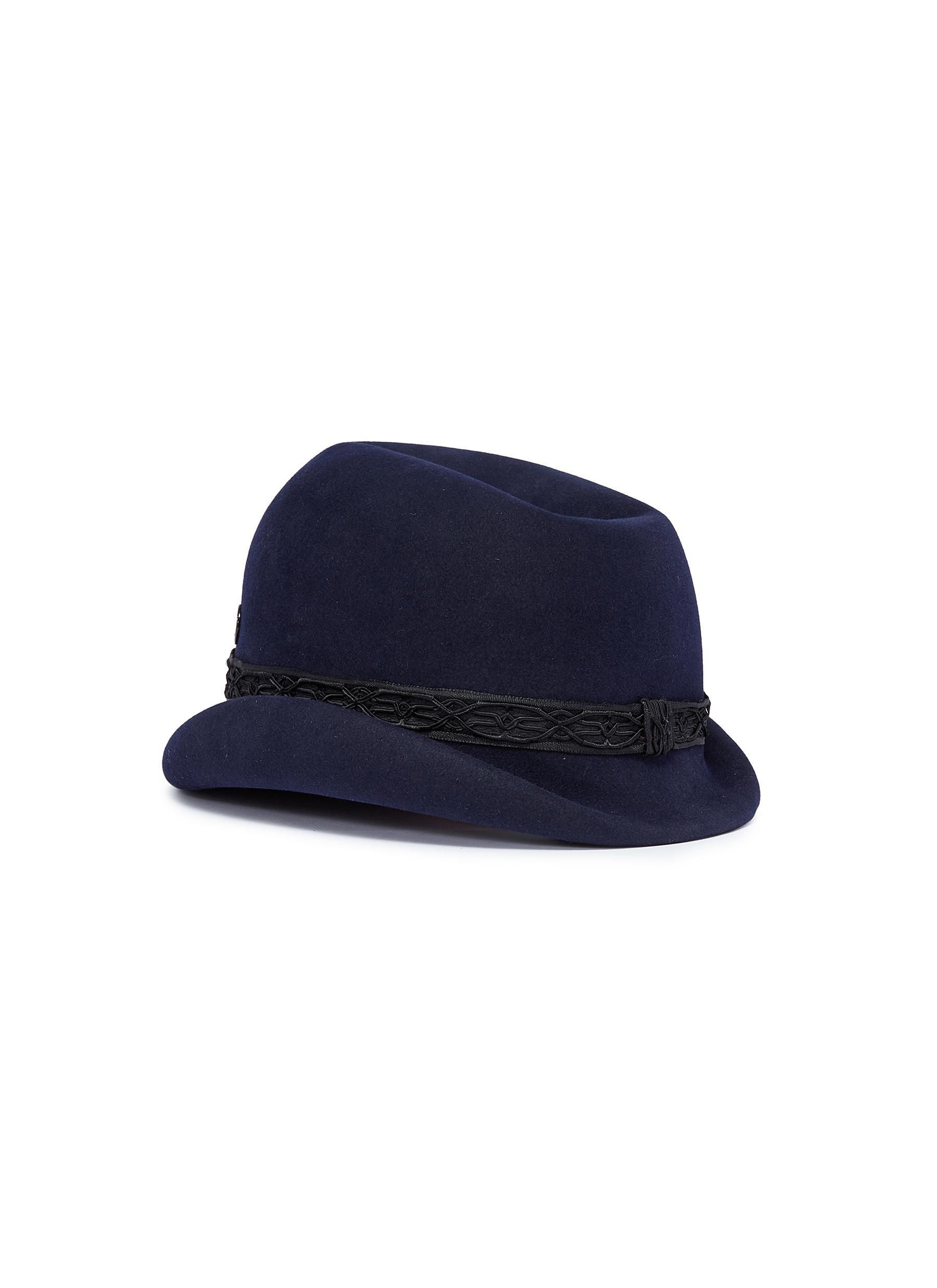f83fee43193 Lyst - Maison Michel  mauro  Braided Ribbon Trim Felt Hat in Blue