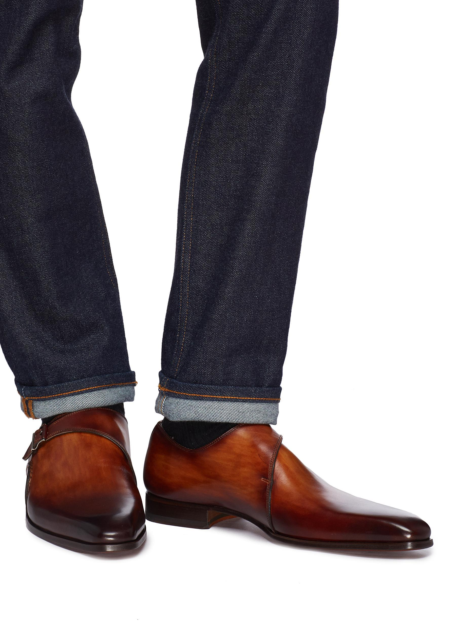 7cd4094abbb Lyst - Magnanni Monk Strap Leather Loafers in Brown for Men