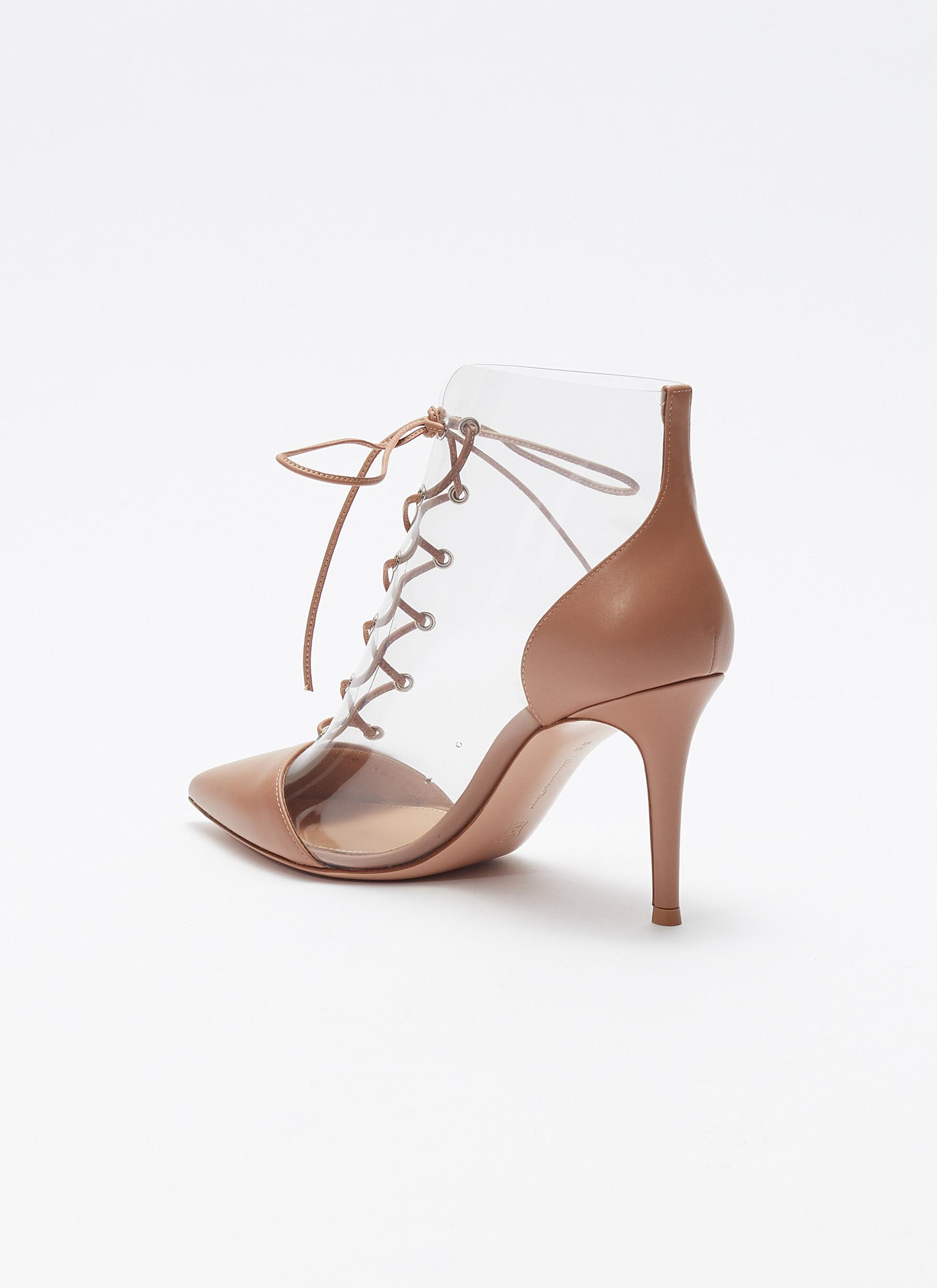 c54570ccabe Gianvito Rossi  icon  Lace-up Clear Pvc Leather Ankle Boots in Pink ...