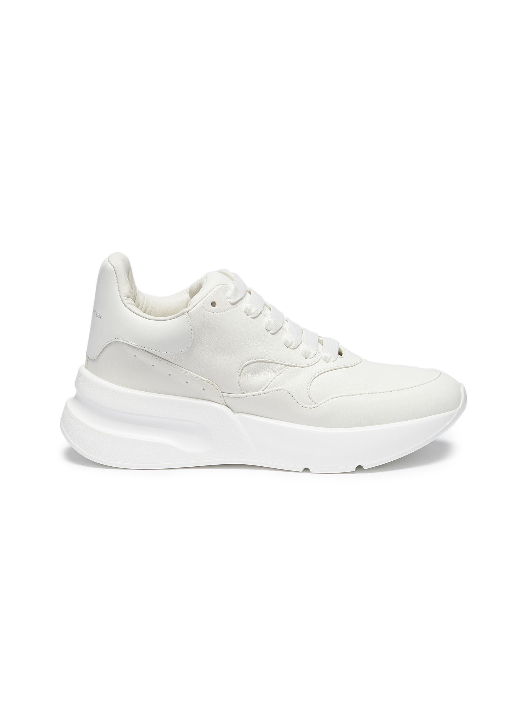 34ed8ad6f8f3 Lyst - Alexander Mcqueen Chunky Outsole Leather Sneakers in White