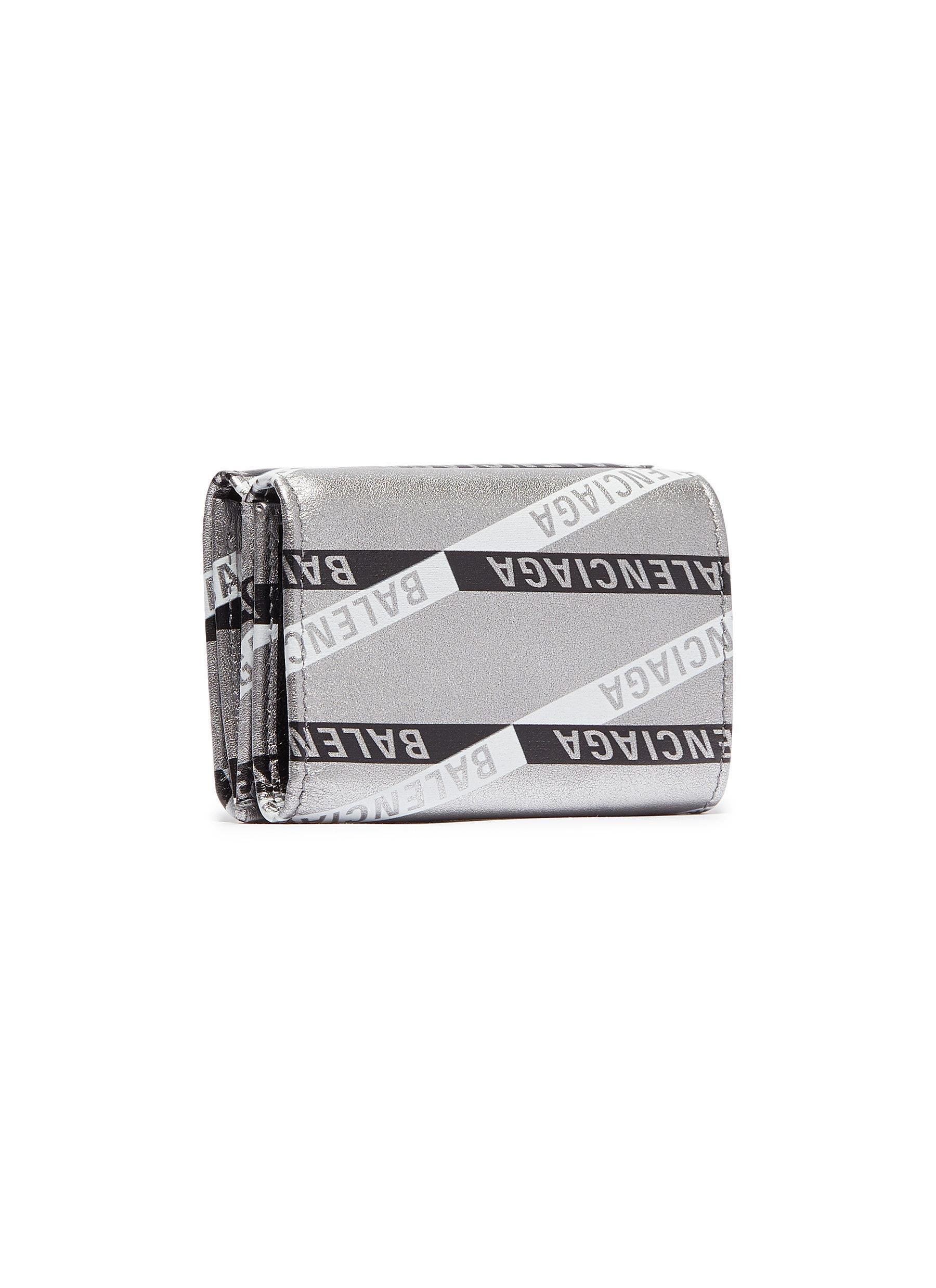 7eeaaef93970 Balenciaga -  monogram Everyday  Logo Print Metallic Leather Mini Wallet -  Lyst. View fullscreen