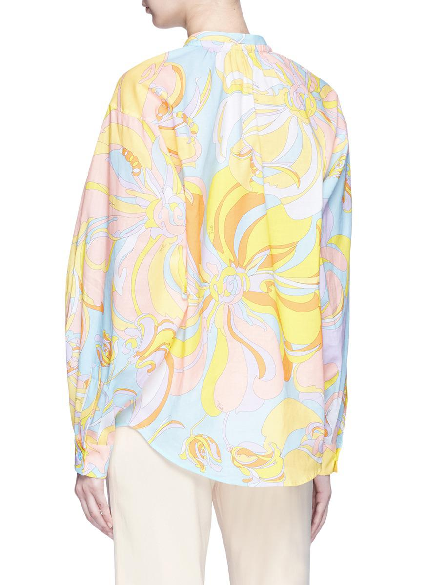 Emilio Pucci Woman Pussy-bow Printed Metallic Silk-blend Blouse Black Size 40 Emilio Pucci Collections For Sale Cheap Sale Comfortable tCMAViyOl