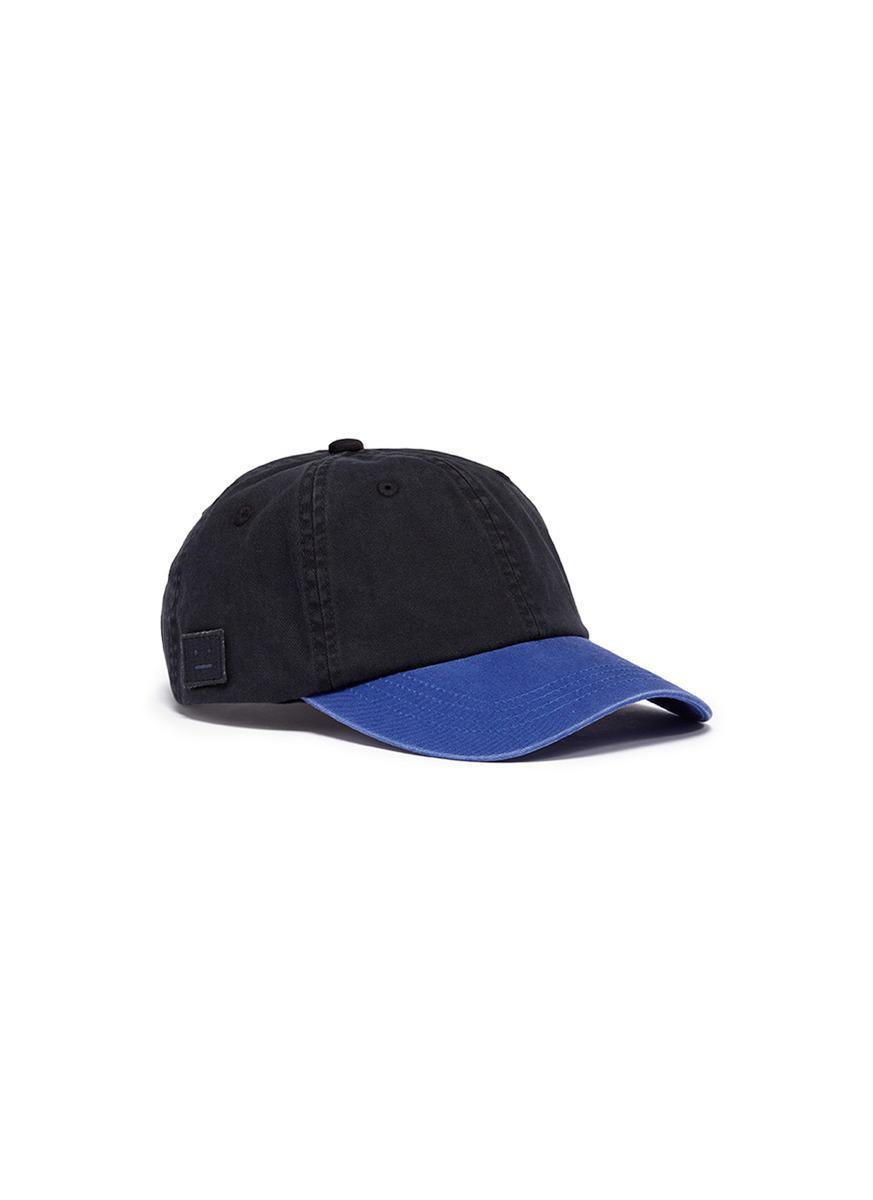 c4edec819a4 Acne  carliy Face  Patch Baseball Cap in Black for Men - Lyst