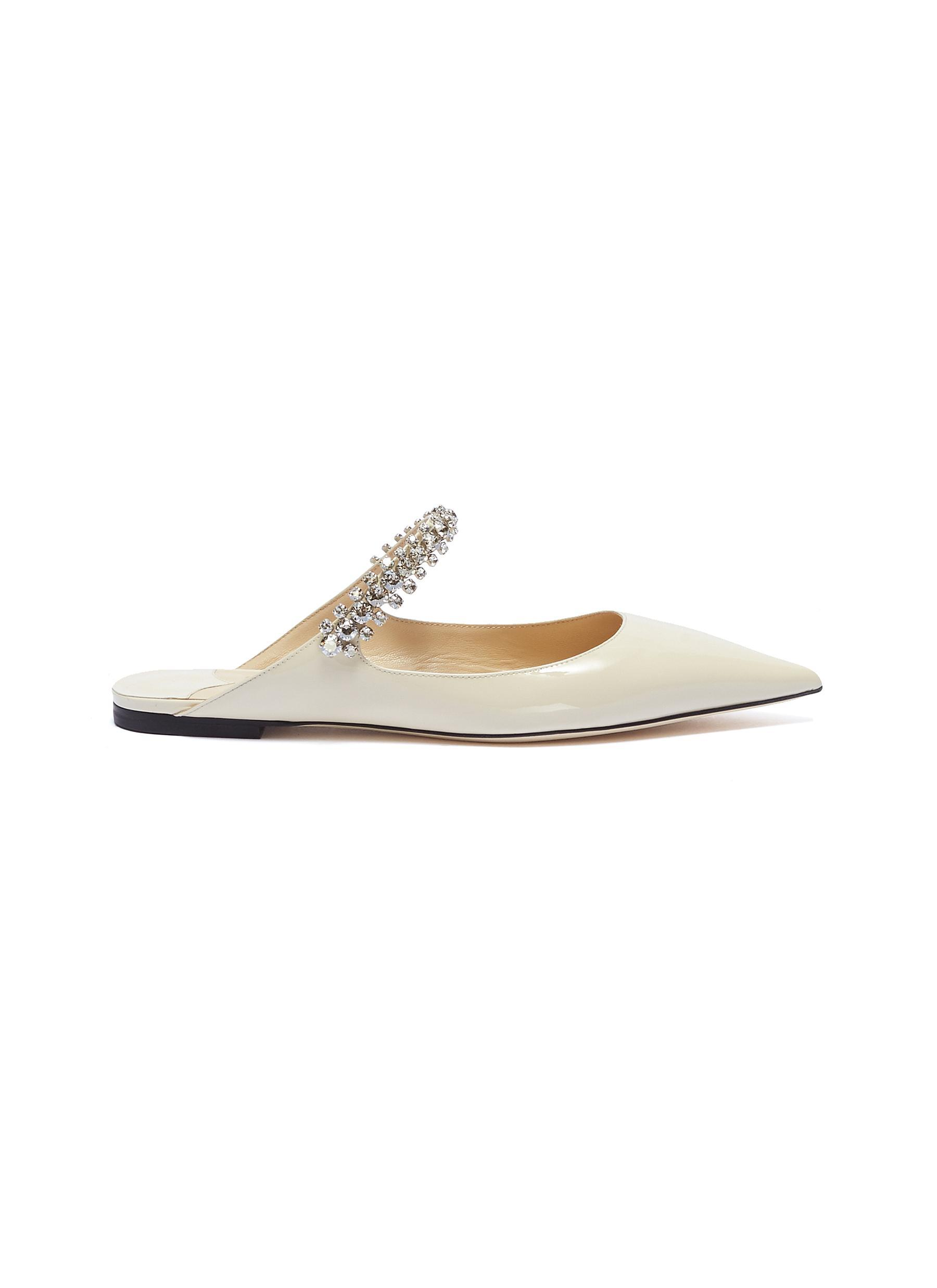 48a414004976 Jimmy Choo  bing  Glass Crystal Strap Patent Leather Slides in White ...