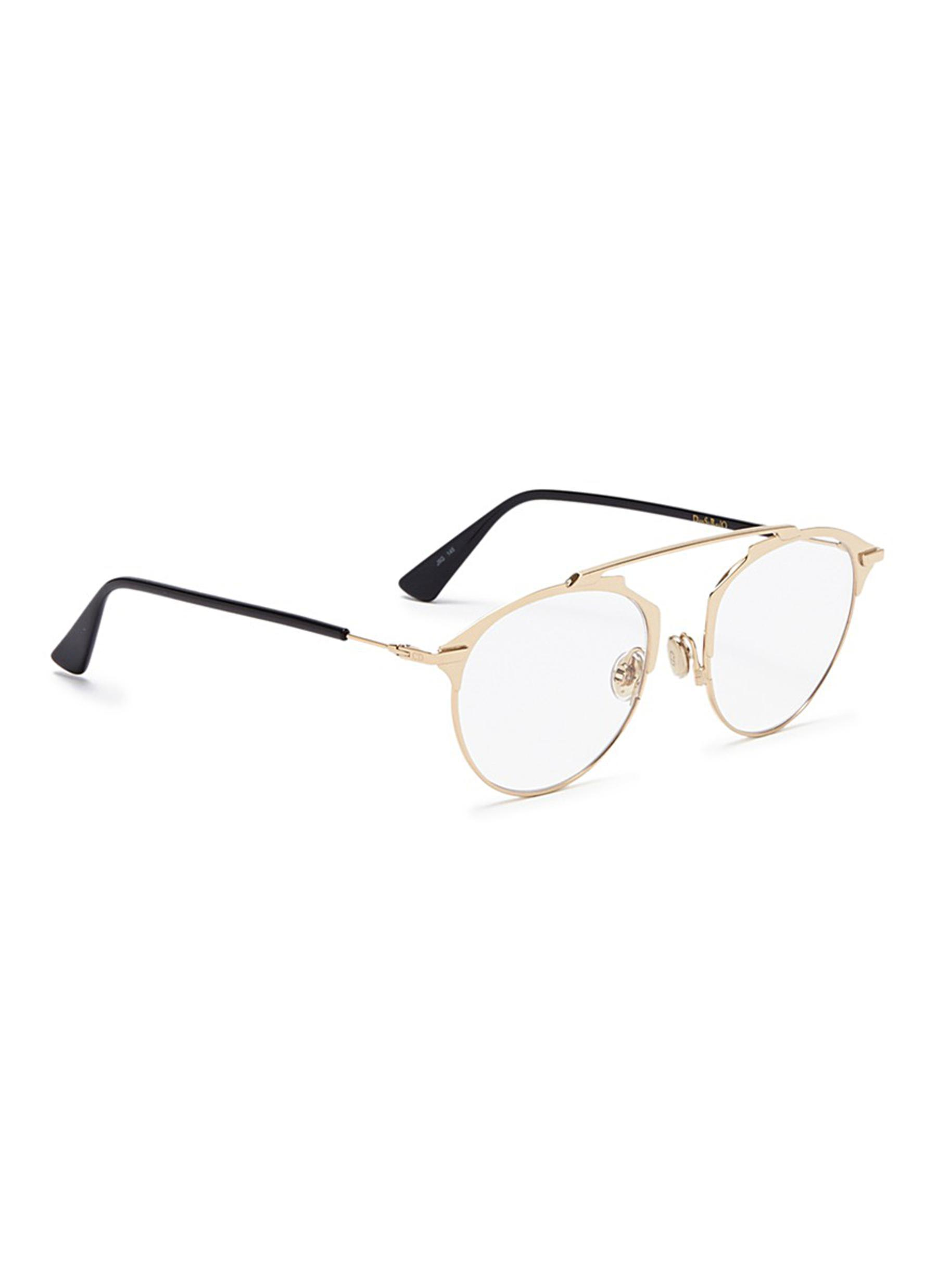 573f749a212 Lyst - Dior   So Real  Metal Panto Optical Glasses in Metallic