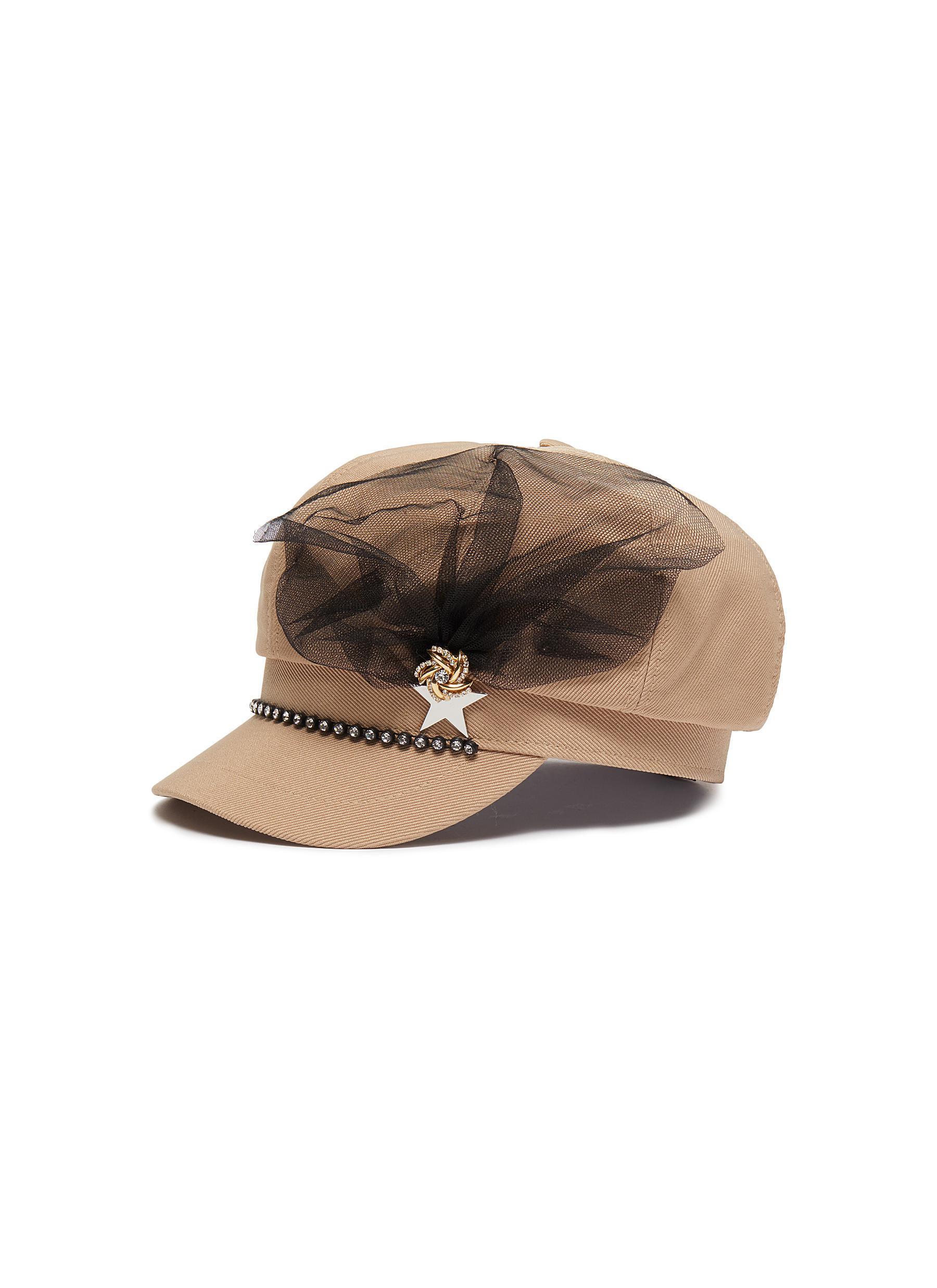 c0eeb88b25f Venna Mesh Embellished Pin Twill Newsboy Cap in Natural - Lyst