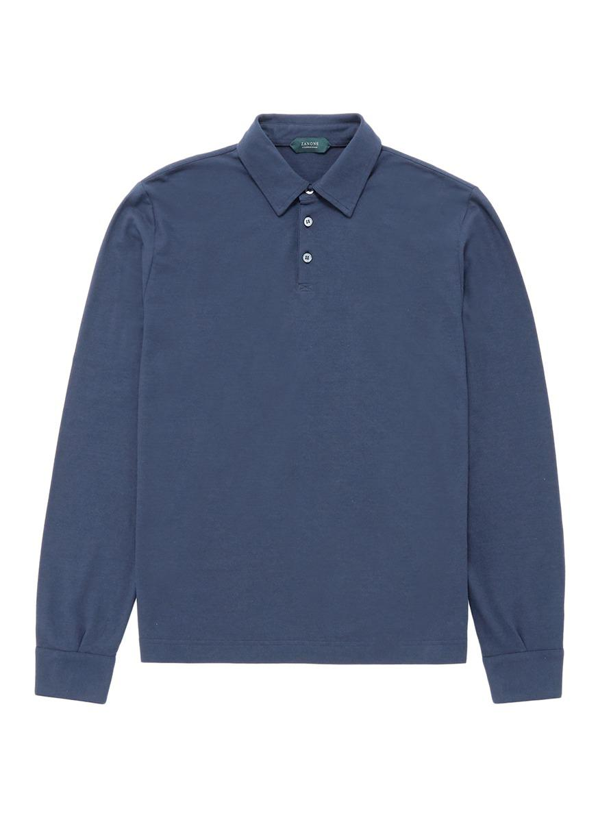 Lyst Incotex Long Sleeve Jersey Polo Shirt In Blue For Men