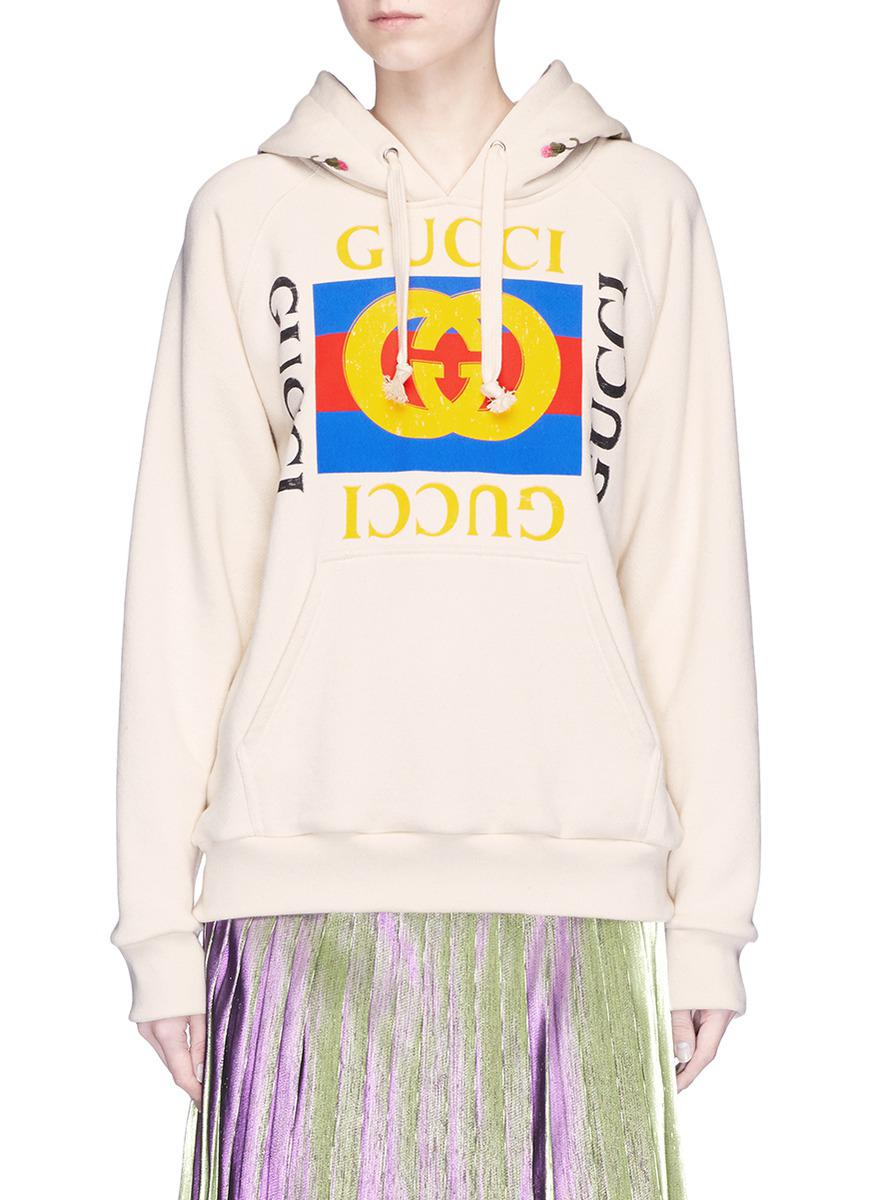 25b326f7e2e6b Lyst - Gucci Floral Embroidered Logo Print Oversized Hoodie in White