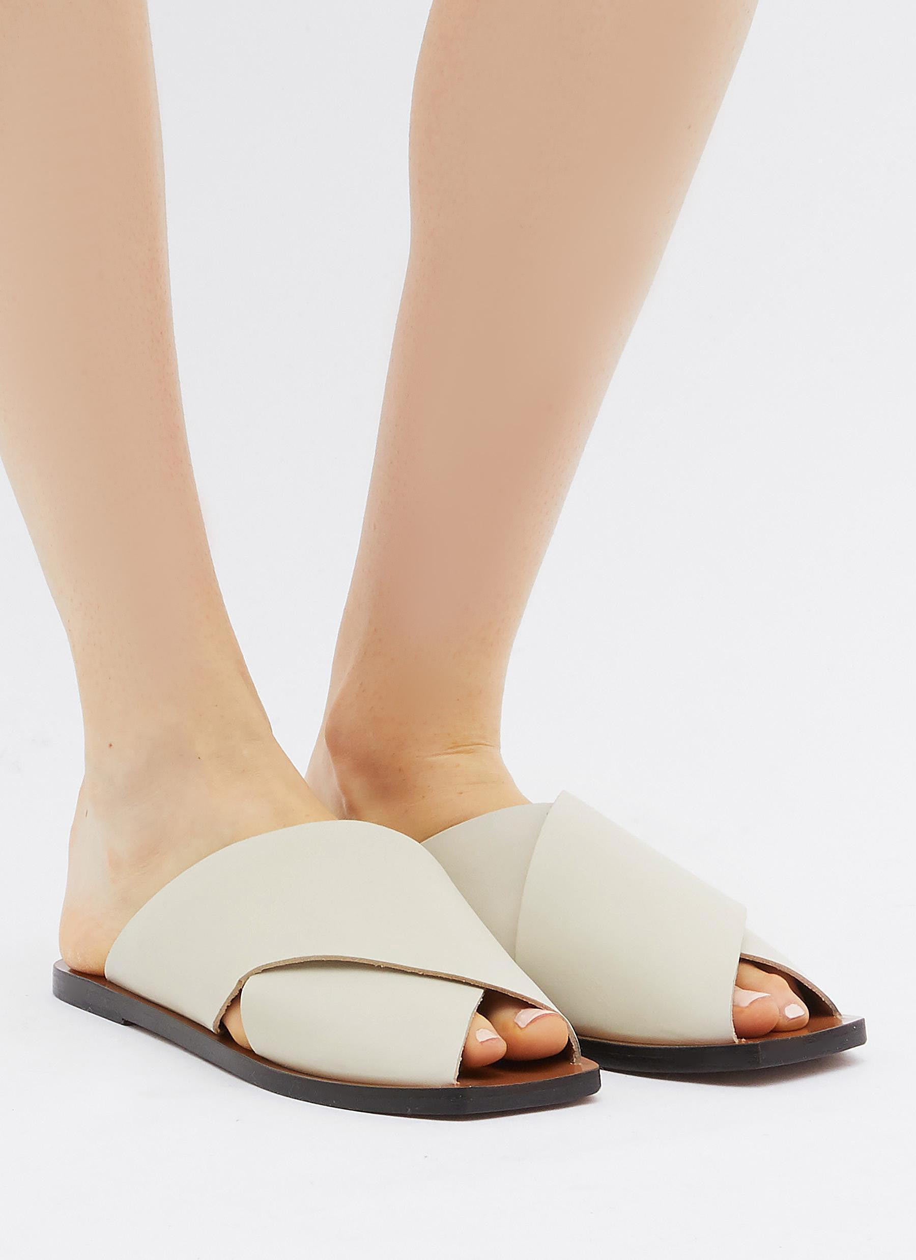 f1bbc2e89f9f Lyst - Atp Atelier  alicia  Cross Band Leather Slide Sandals in White