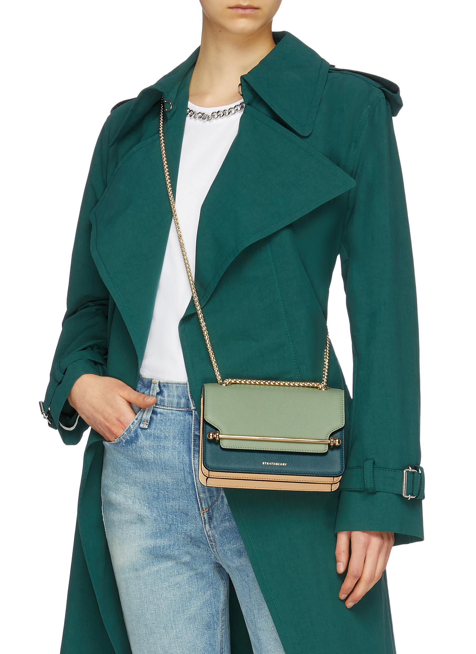3a9f10927acf Strathberry - Green  east west  Mini Leather Crossbody Bag - Lyst. View  fullscreen