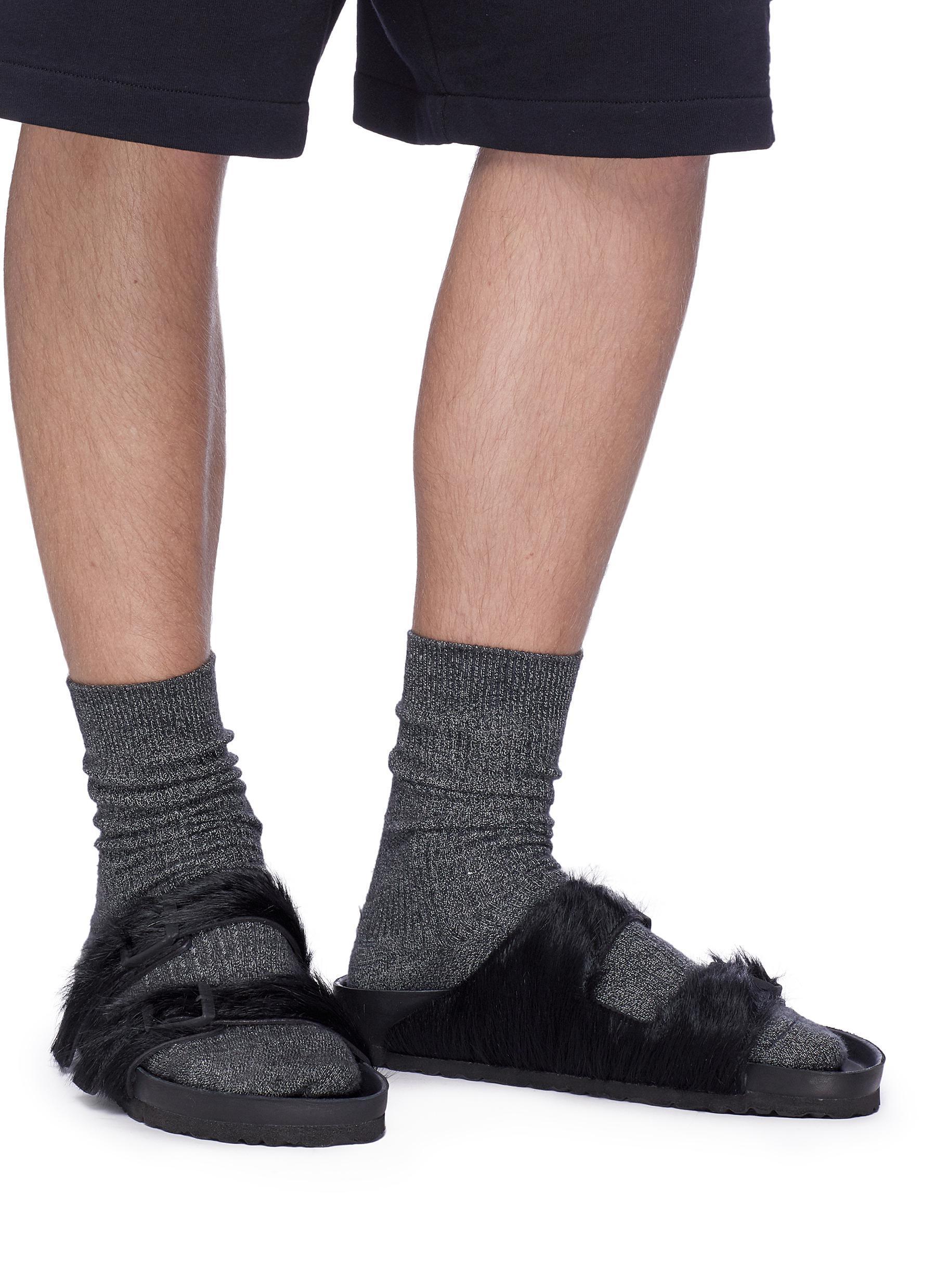 3ec0cf71597 Lyst - Rick Owens X Birkenstock  arizona  Cow Fur Sandals in Black ...