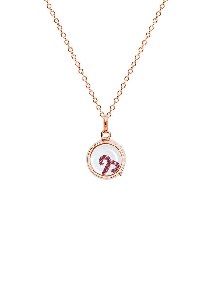 1c4f047bec45 Lyst - Loquet London 18k Rose Gold Ruby Zodiac Charm - Aries in ...