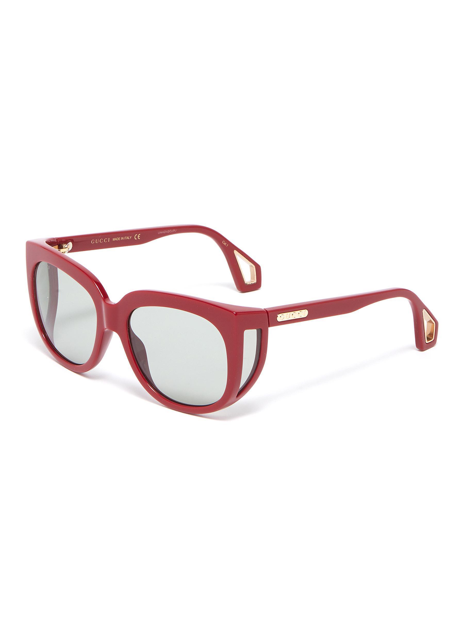 6f7228539cc20 Gucci Spoiler Acetate Square Sunglasses in Red - Lyst