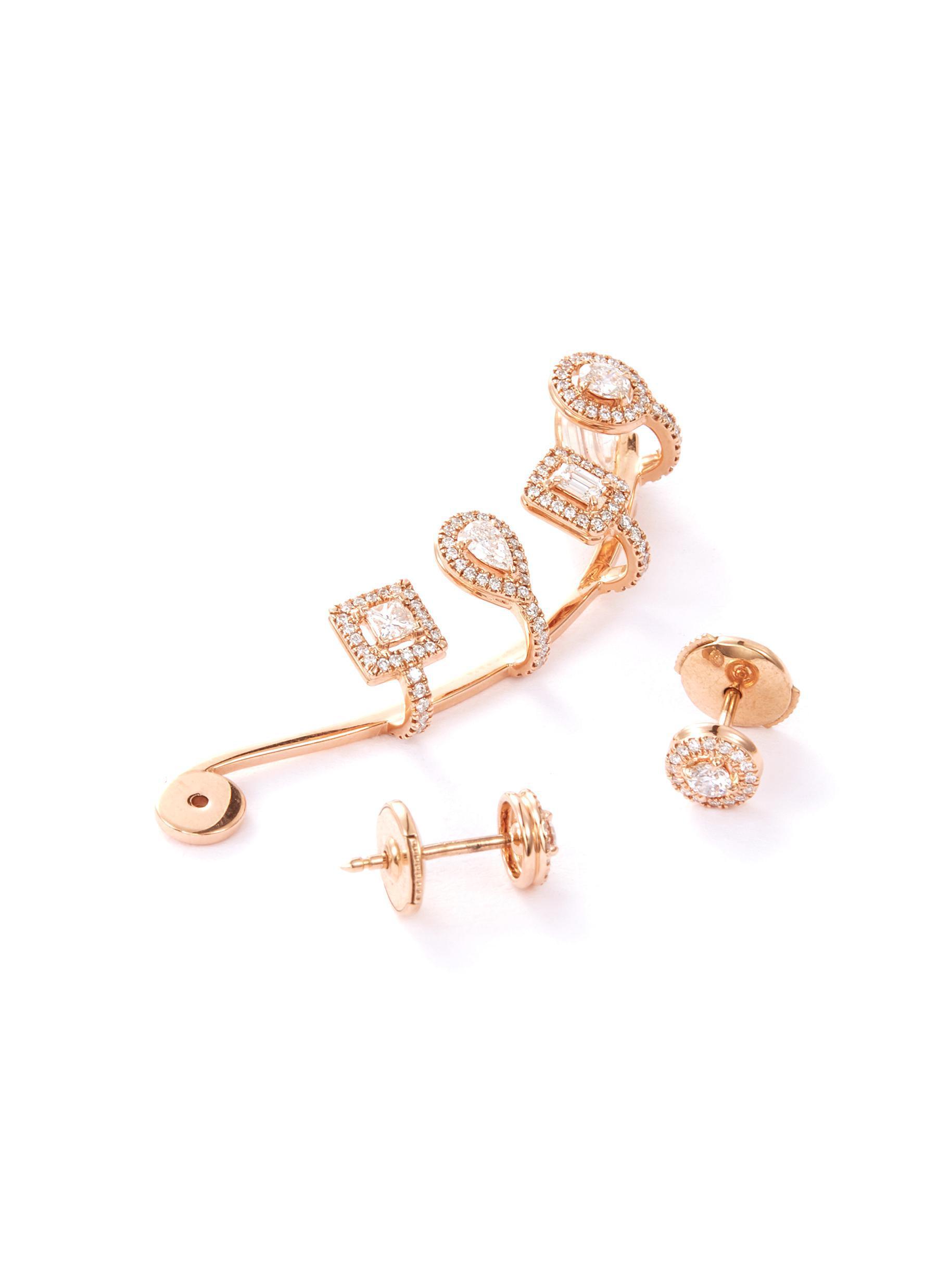 8374a86e7 Messika My Twin Multishape' Diamond 18k Rose Gold Mismatched ...