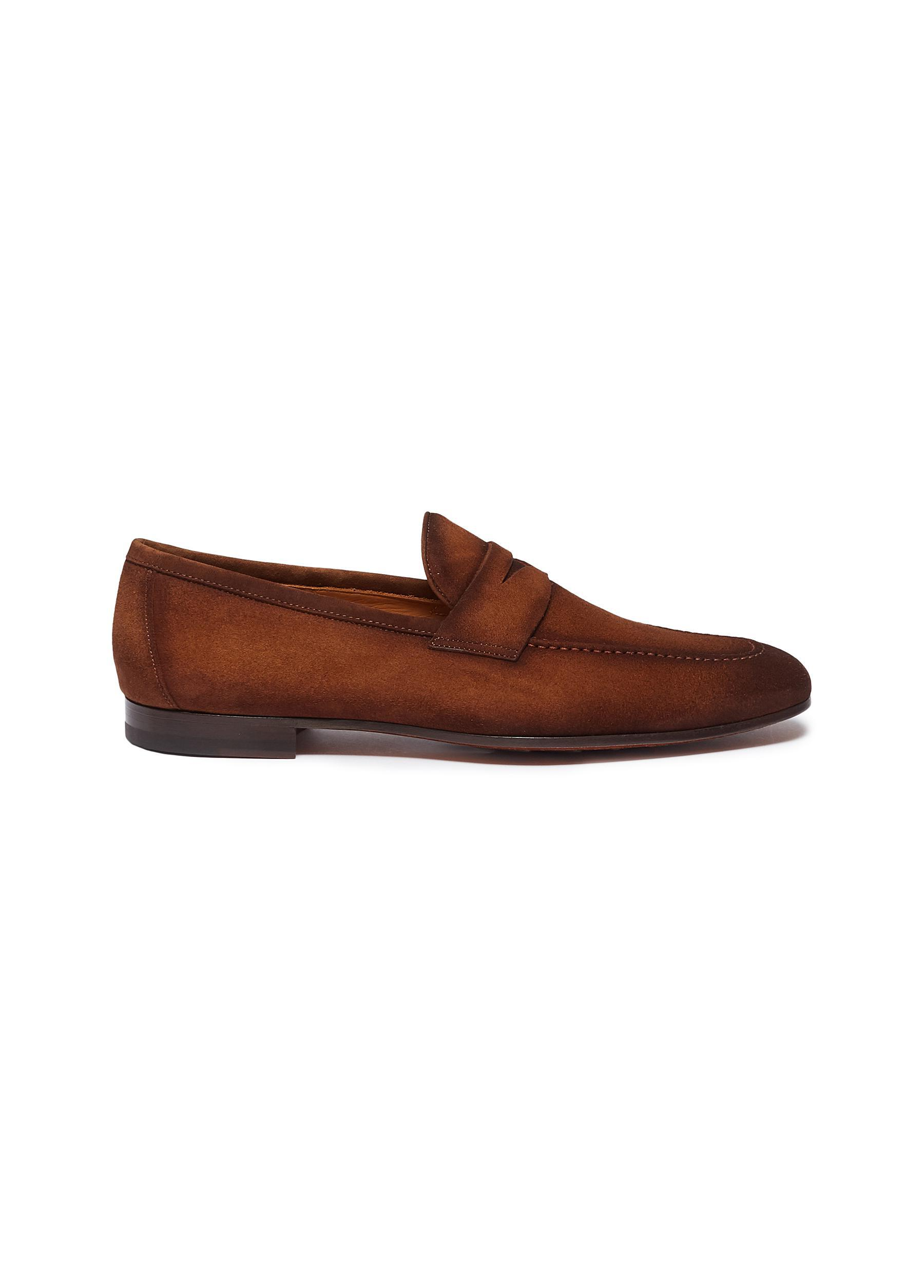 25b8c1e372f Lyst - Magnanni Suede Penny Loafers in Brown for Men